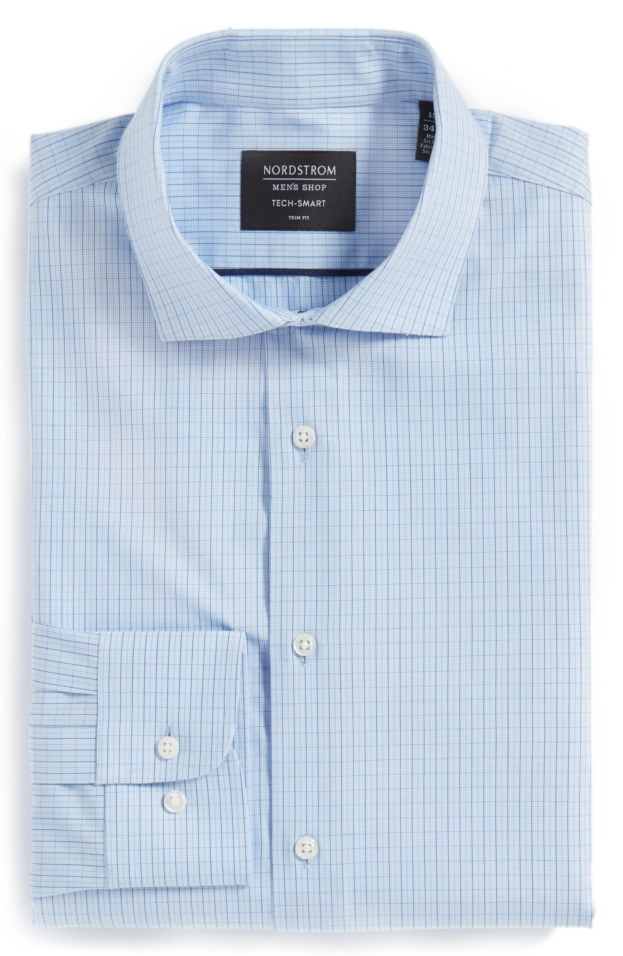 Tech-Smart Trim Fit Stretch Check Dress Shirt,                             Alternate thumbnail 3, color,