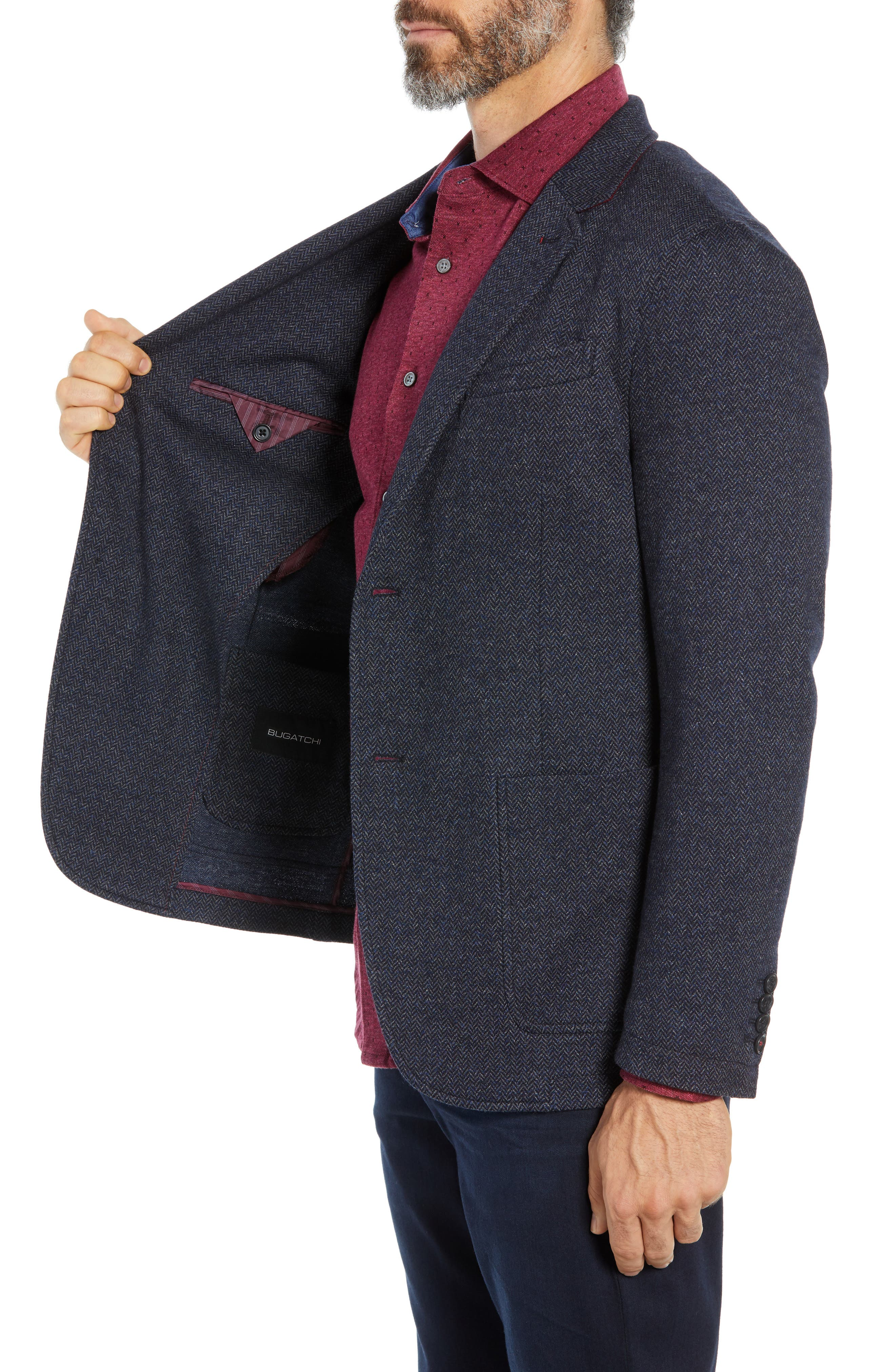 Cotton & Wool Blazer,                             Alternate thumbnail 3, color,                             NIGHT BLUE