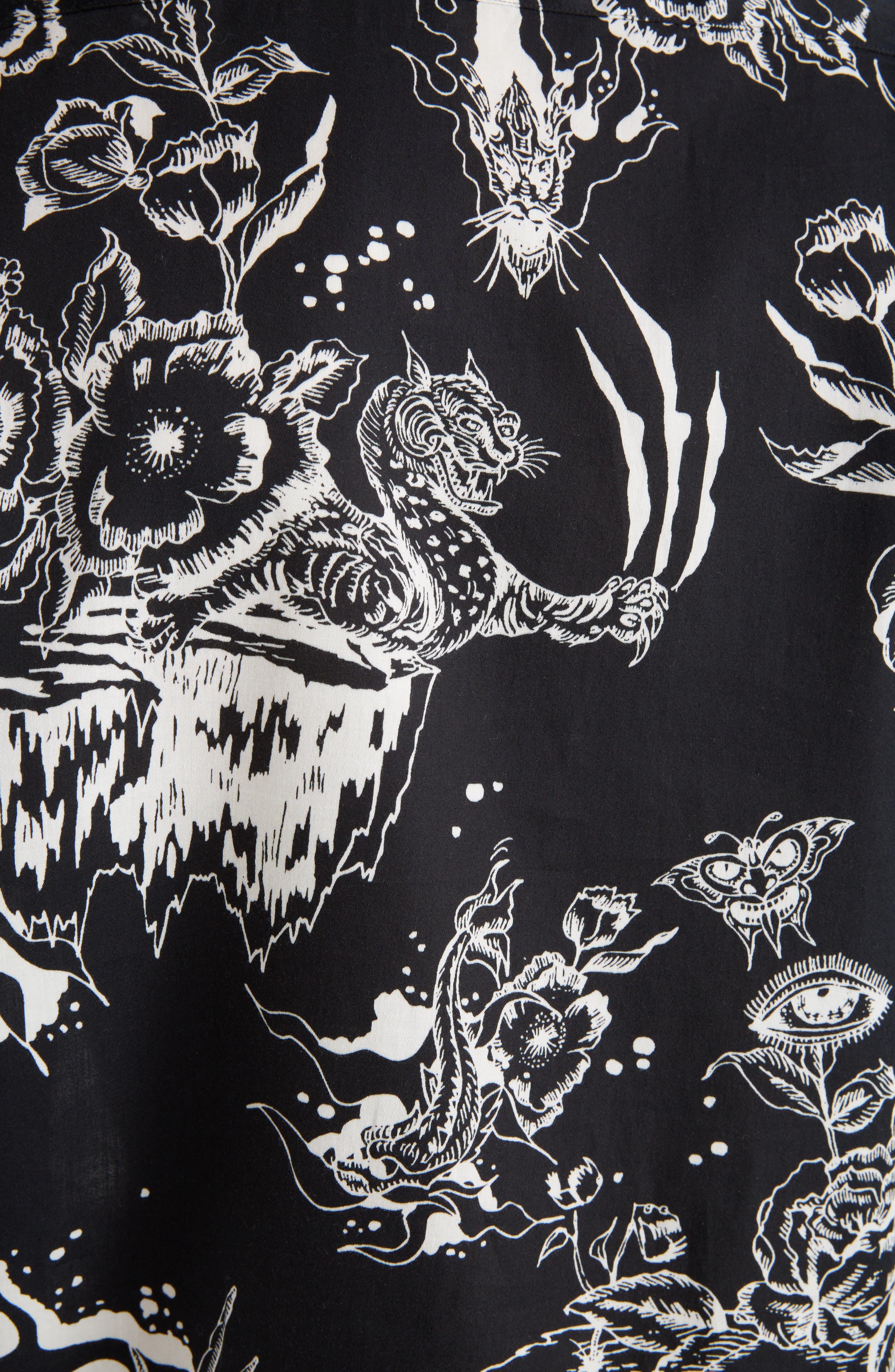 Dragon Sky Camp Shirt,                             Alternate thumbnail 5, color,                             BLACK