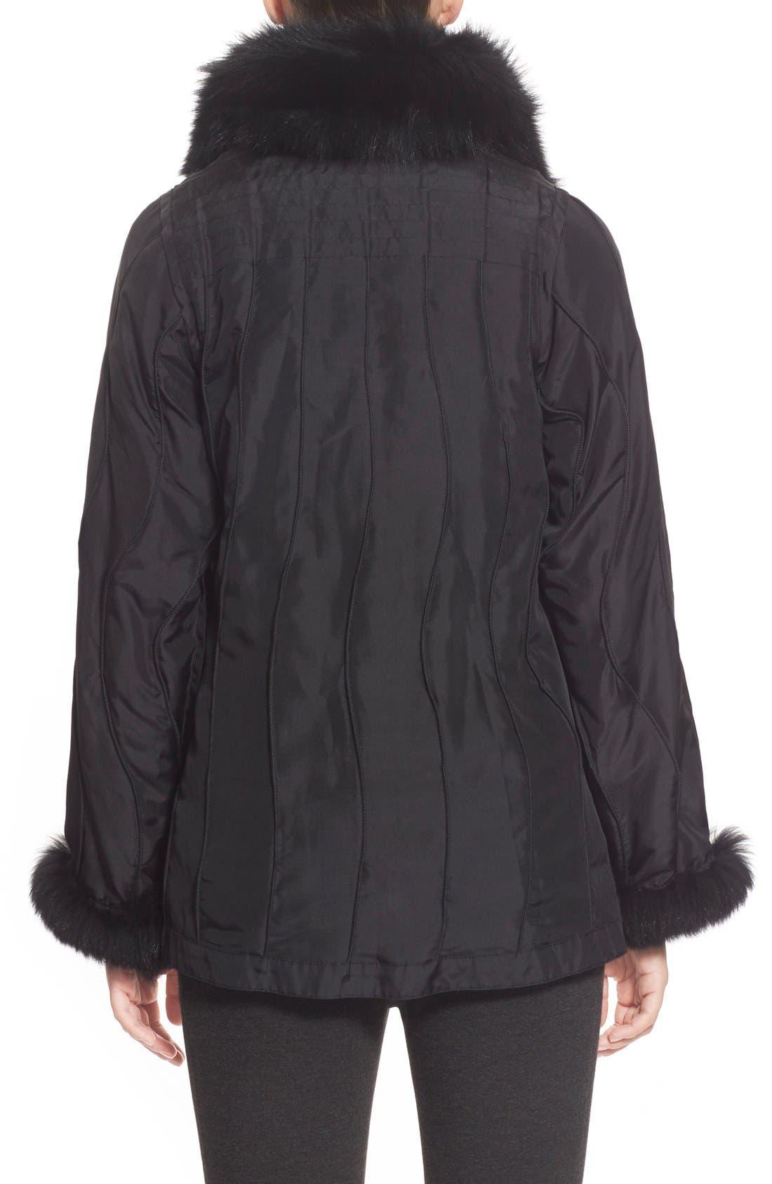 GeorgeSimonton Reversible Silk & Genuine Fox Fur Topper,                             Alternate thumbnail 13, color,
