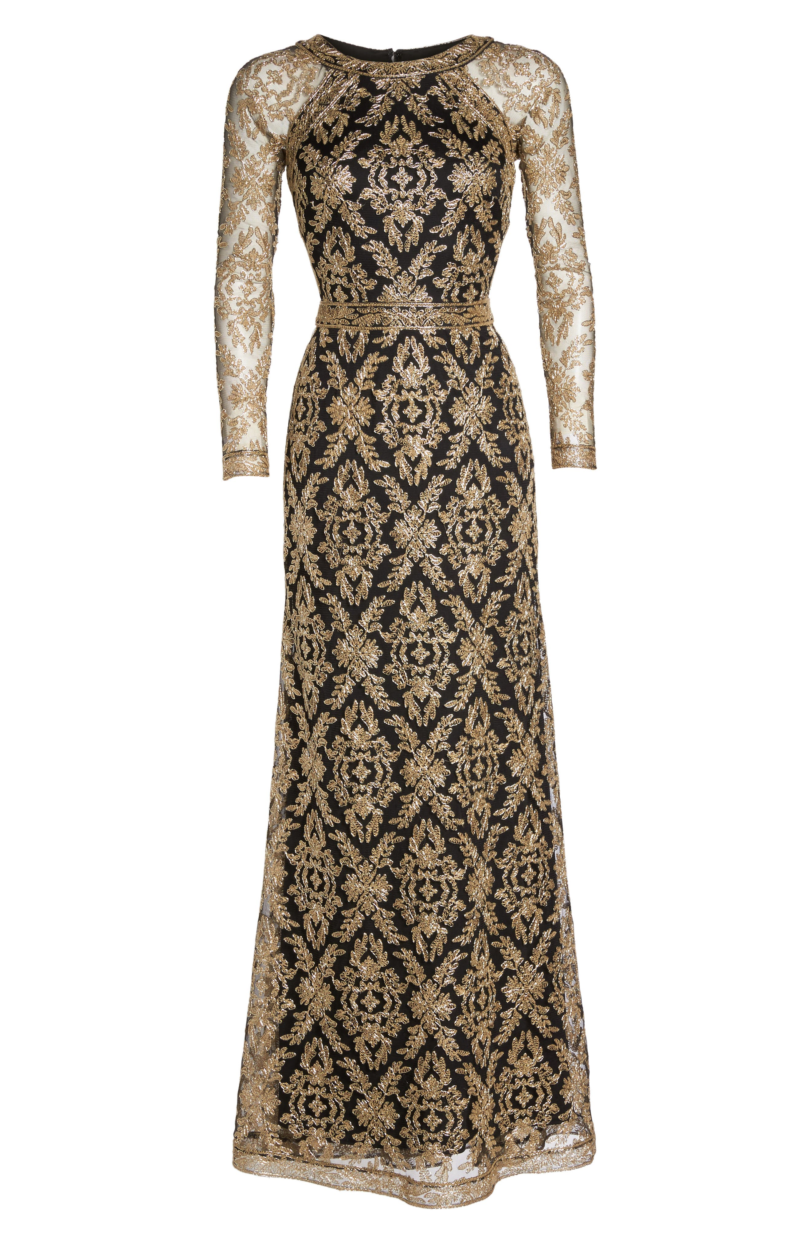 Embroidered Lace Gown,                             Alternate thumbnail 6, color,                             712