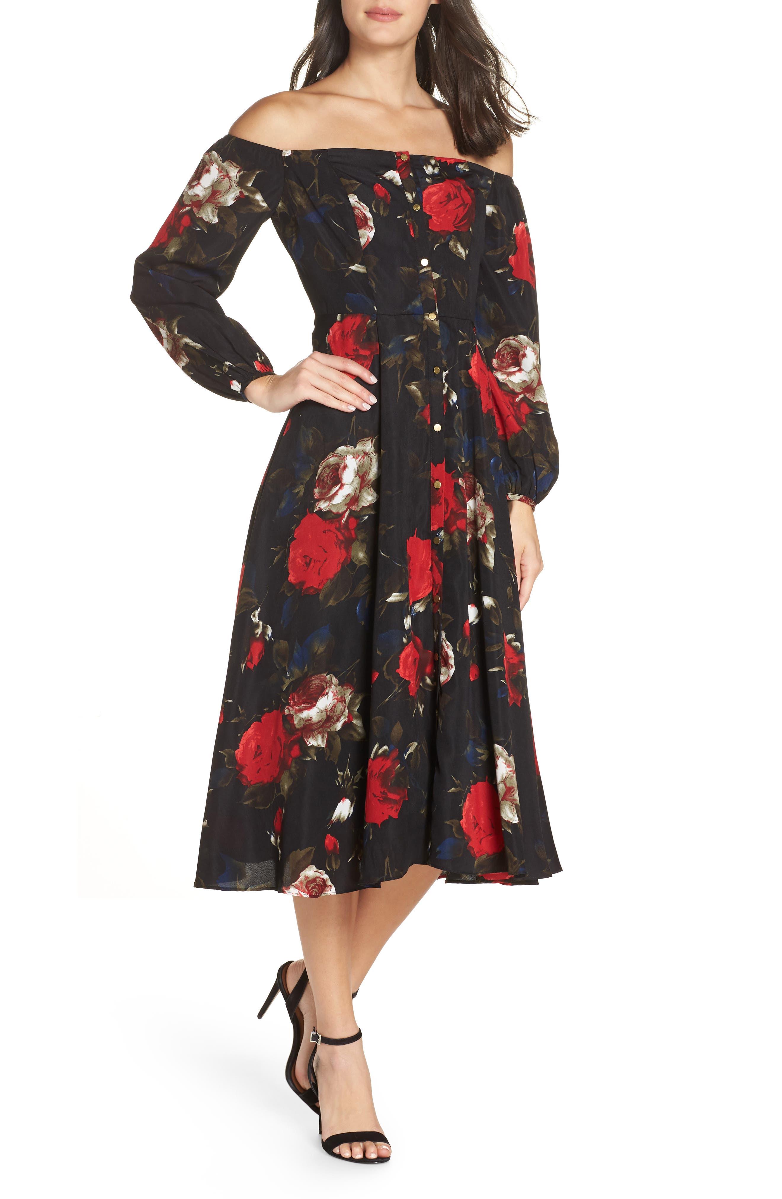 Off the Shoulder Midi Dress,                         Main,                         color, BLACK LUSH ROSE FLORAL