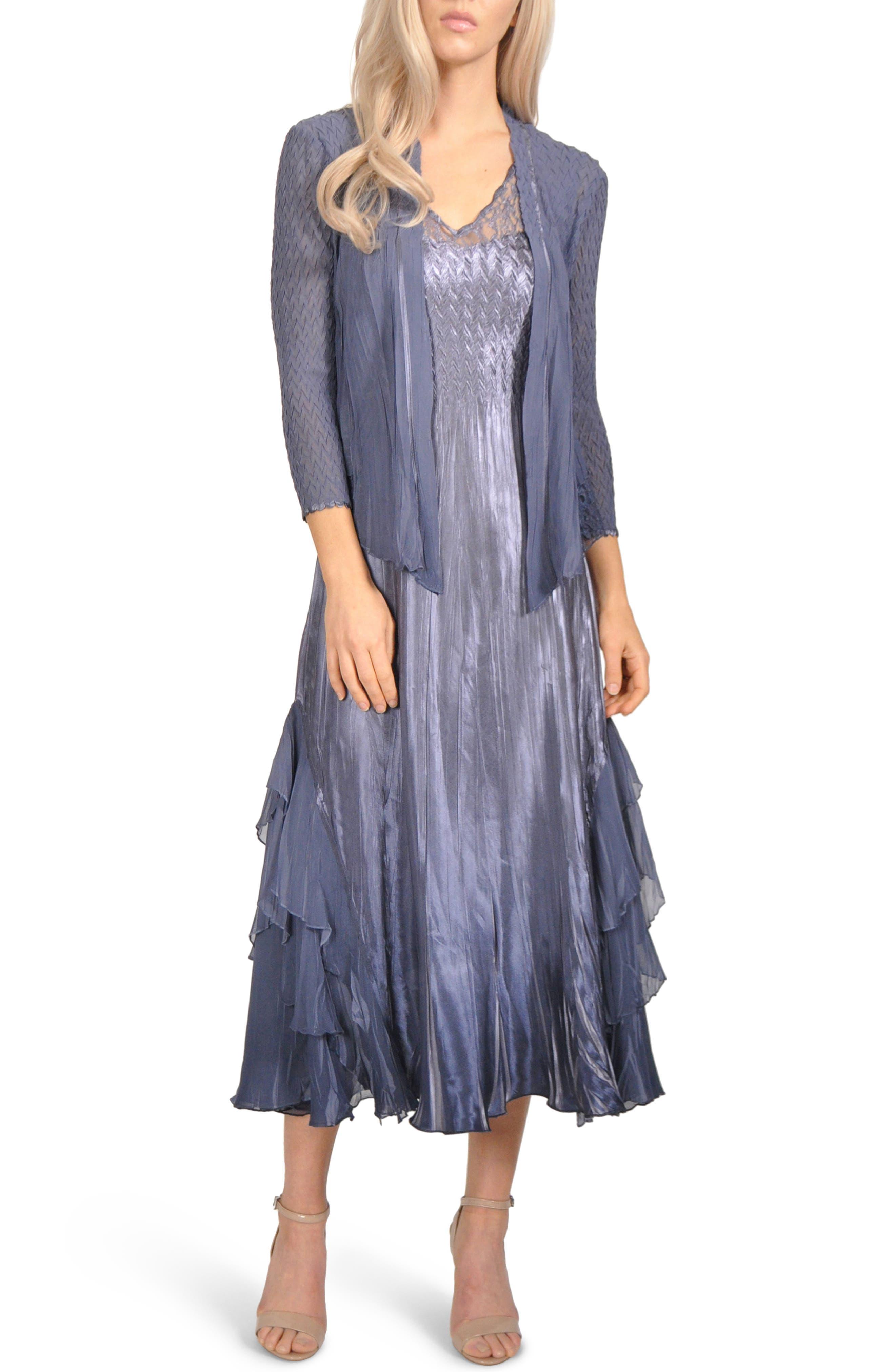 Komarov Waterfall Mixed Media Dress With Jacket, Purple
