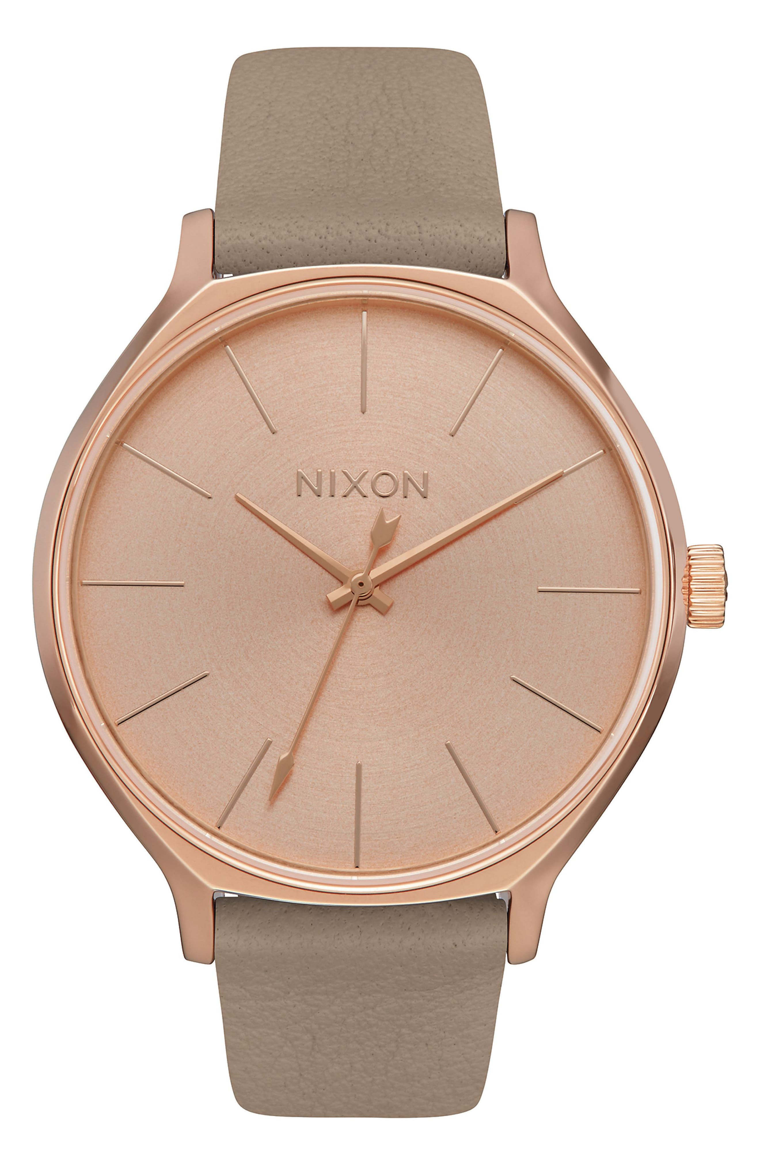 The Clique Leather Strap Watch, 38mm, Main, color, ROSE GOLD/ GREY/ ROSE GOLD
