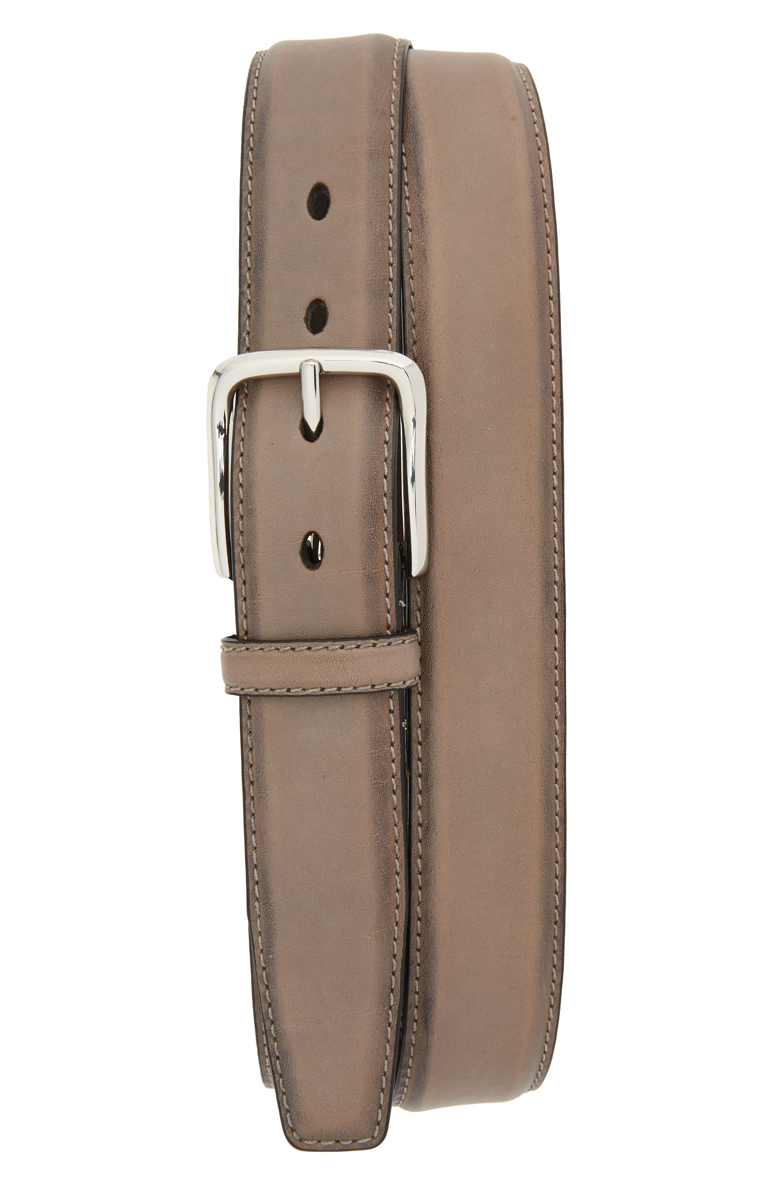 Cole Haan Feather Edge Leather Belt, Ironstone