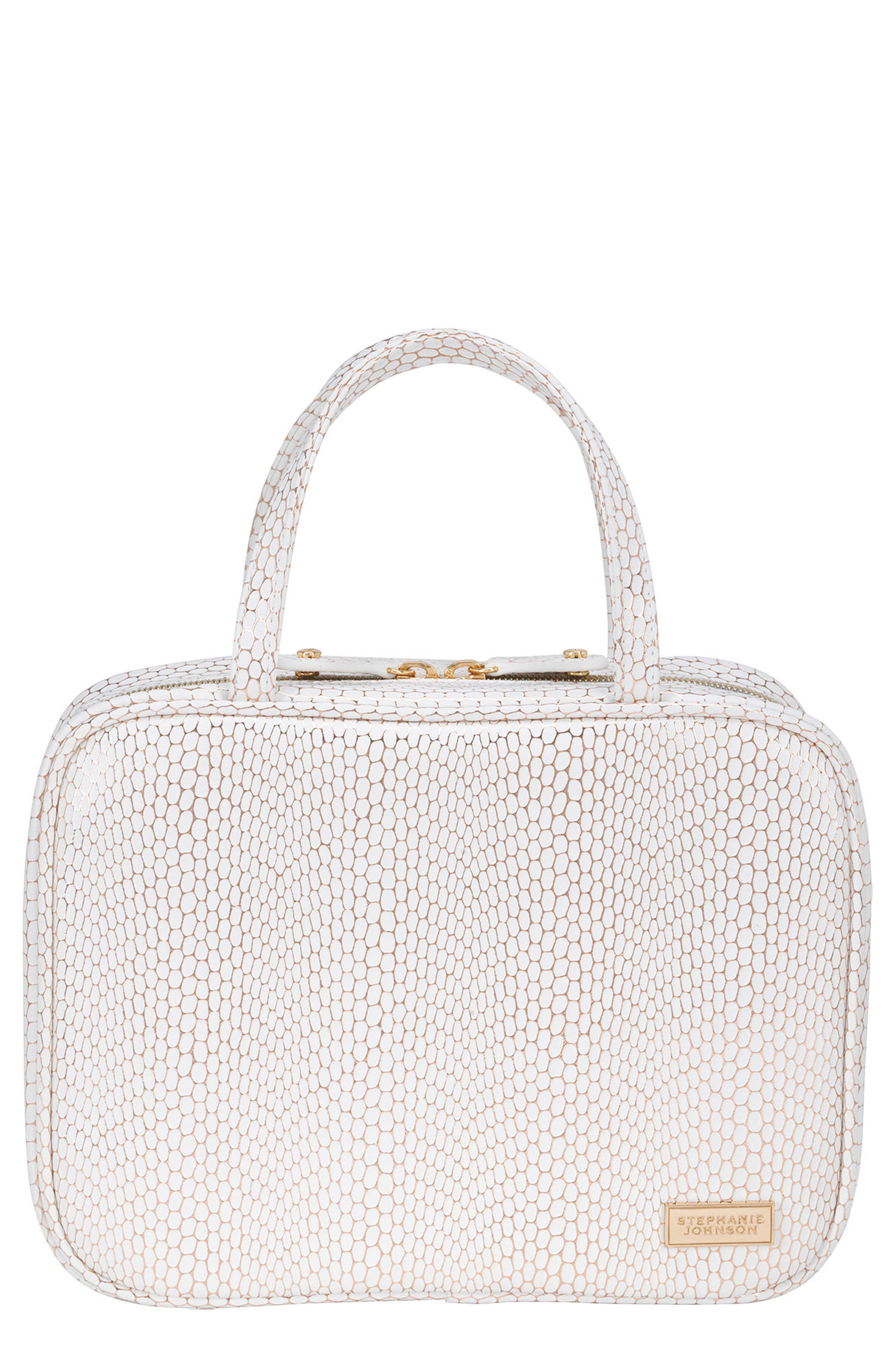 Havana Traveler Cosmetics Case,                         Main,                         color, WHITE