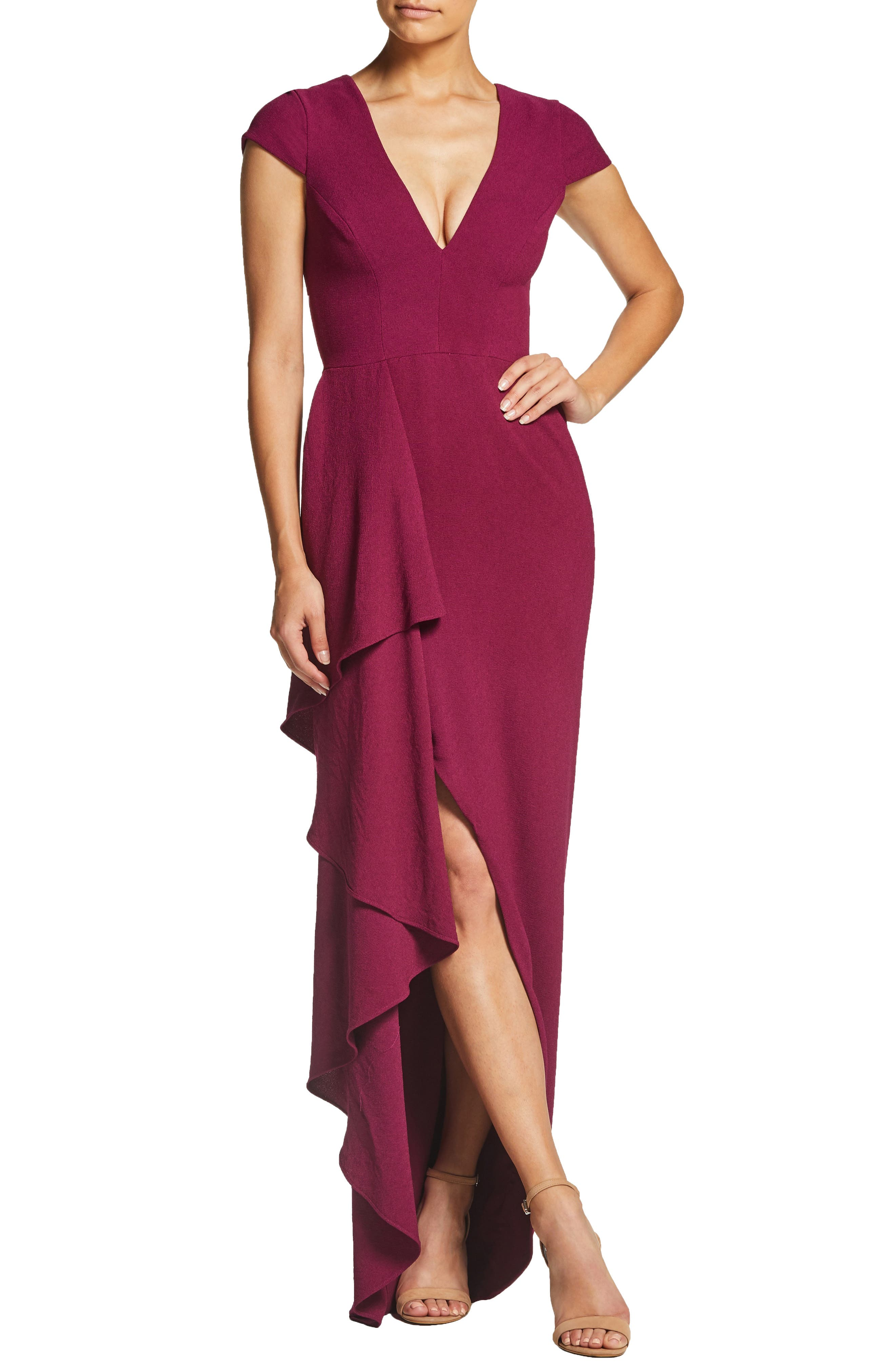 Dress The Population Alma Cap Sleeve Waterfall Crepe Gown, Pink