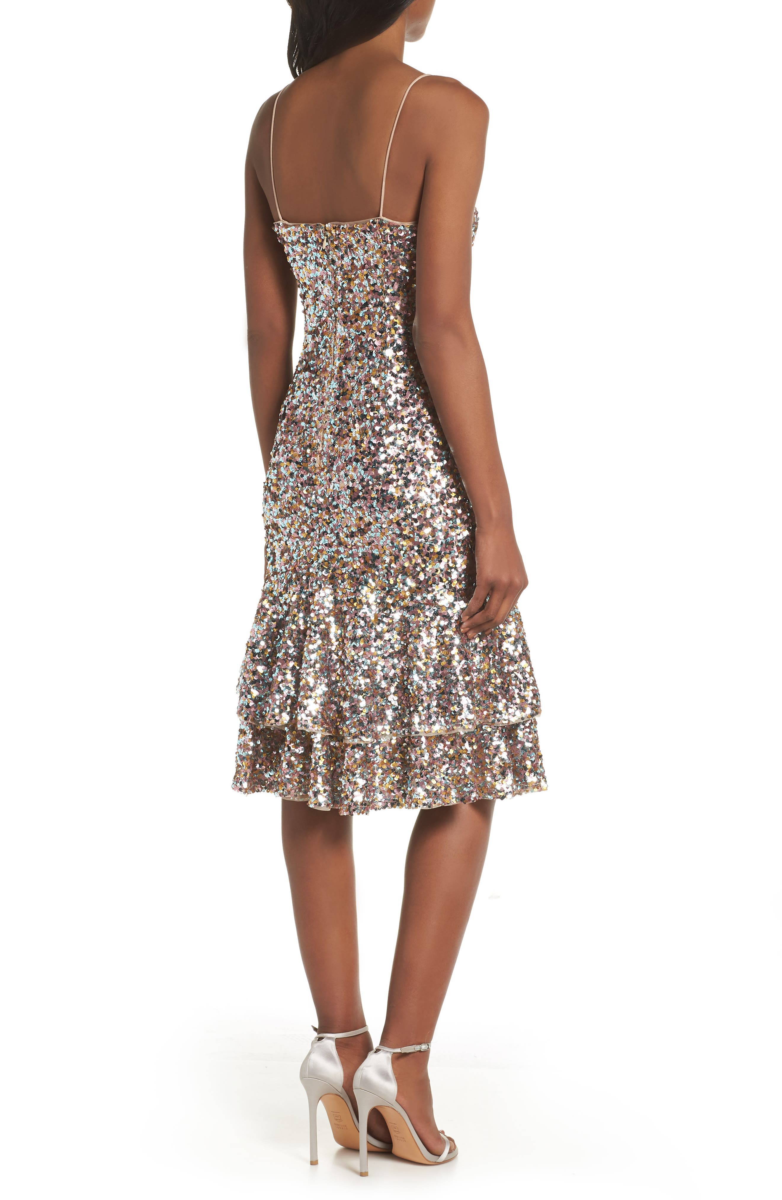 Ruffle Hem Sequin Midi Dress,                             Alternate thumbnail 2, color,                             PINK MULTI