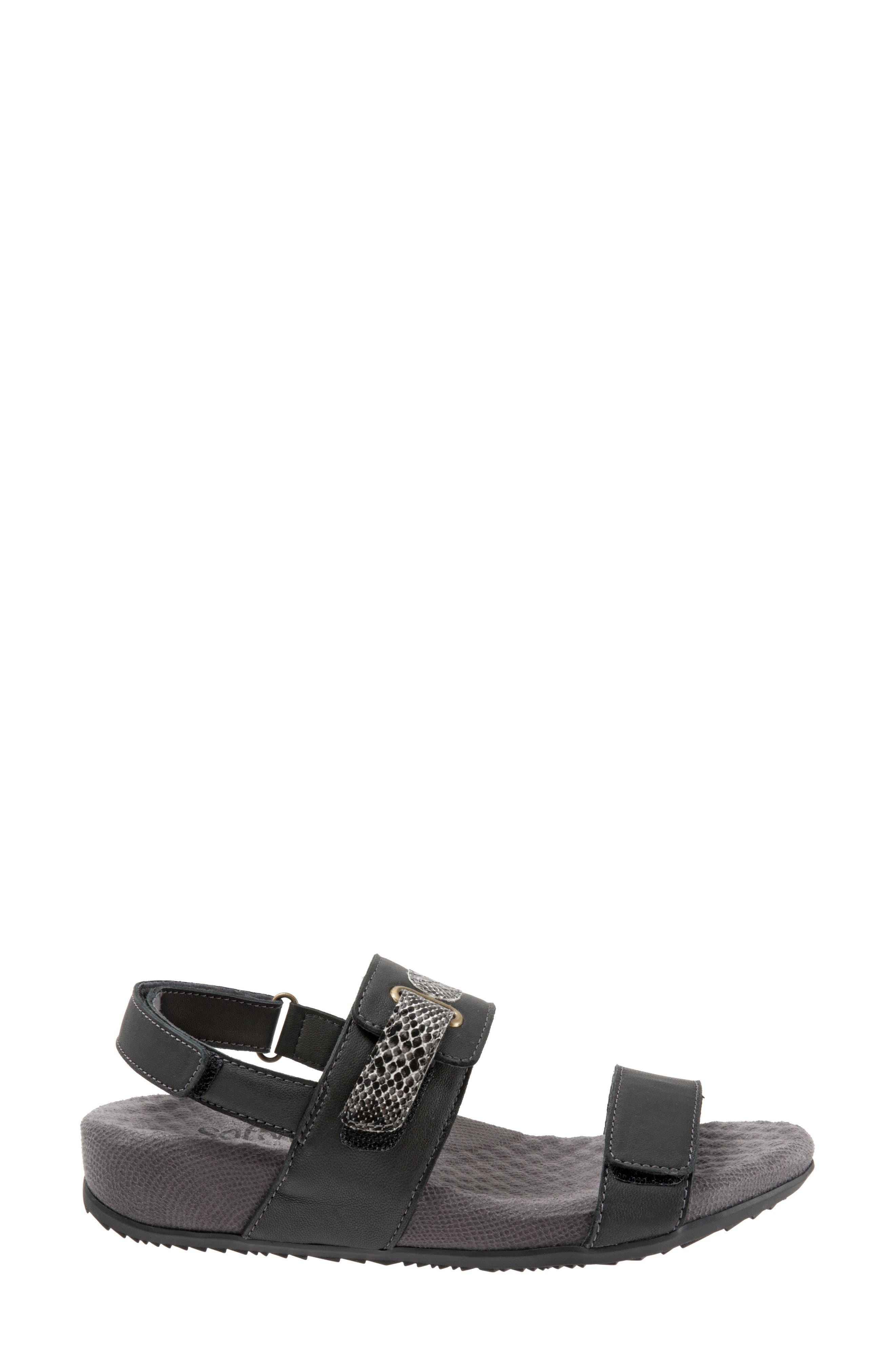 Bimmer Sandal,                             Alternate thumbnail 3, color,                             BLACK LEATHER