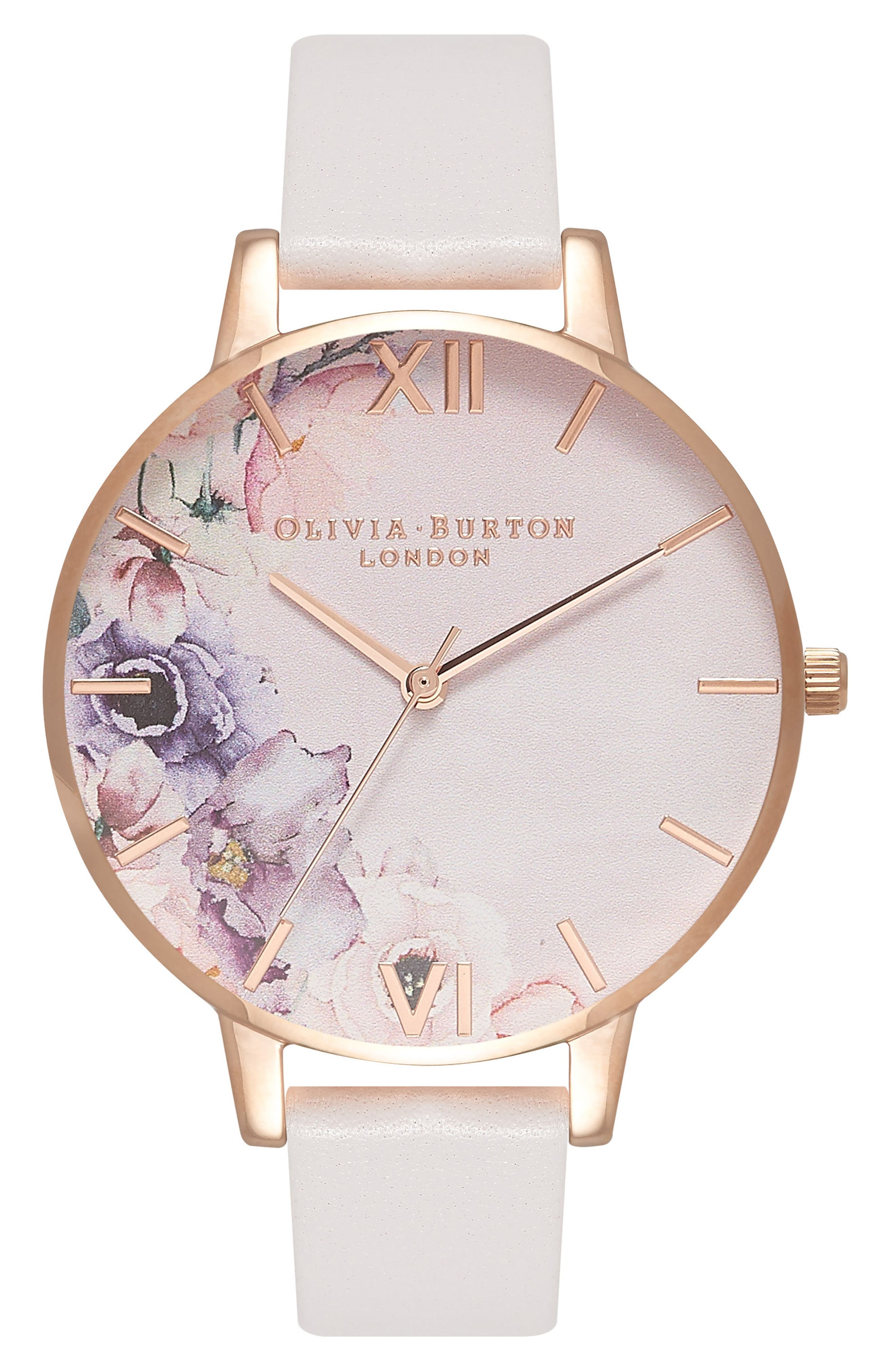Watercolour Florals Leather Strap Watch, 38mm,                             Main thumbnail 1, color,                             BLUSH/ FLORAL/ ROSE GOLD