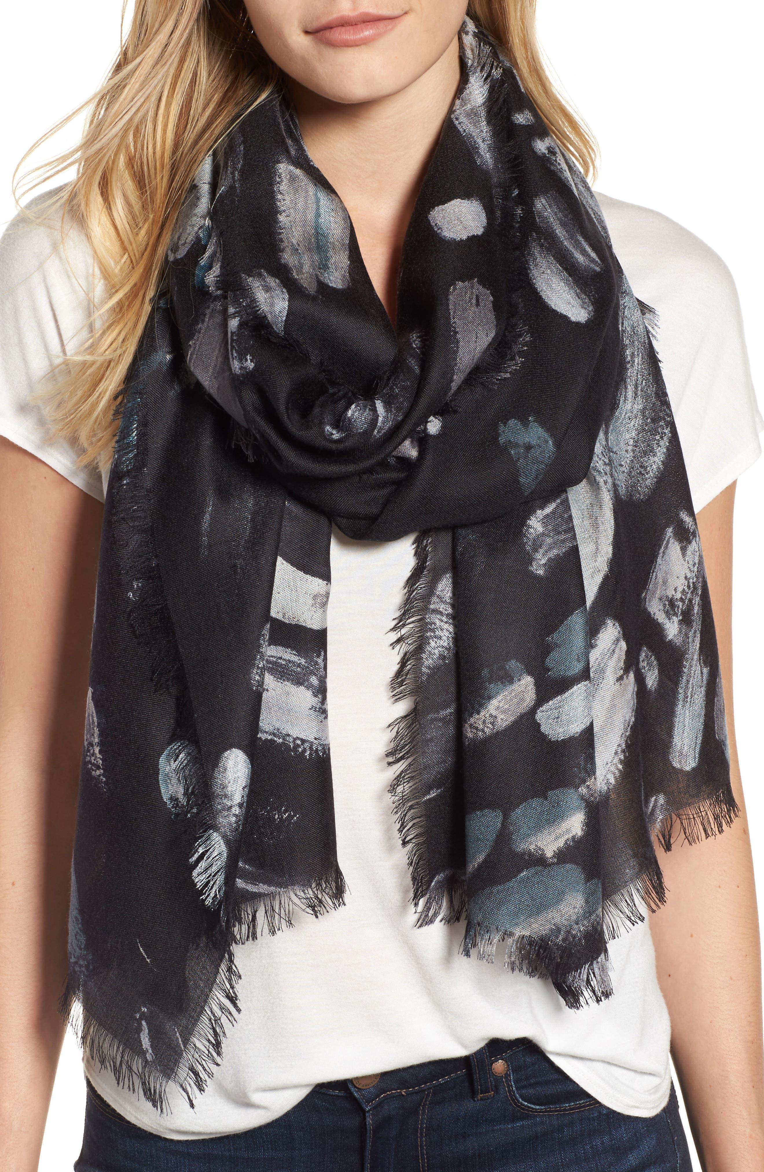 Impressionist Dots Cashmere & Silk Scarf,                         Main,                         color, 001