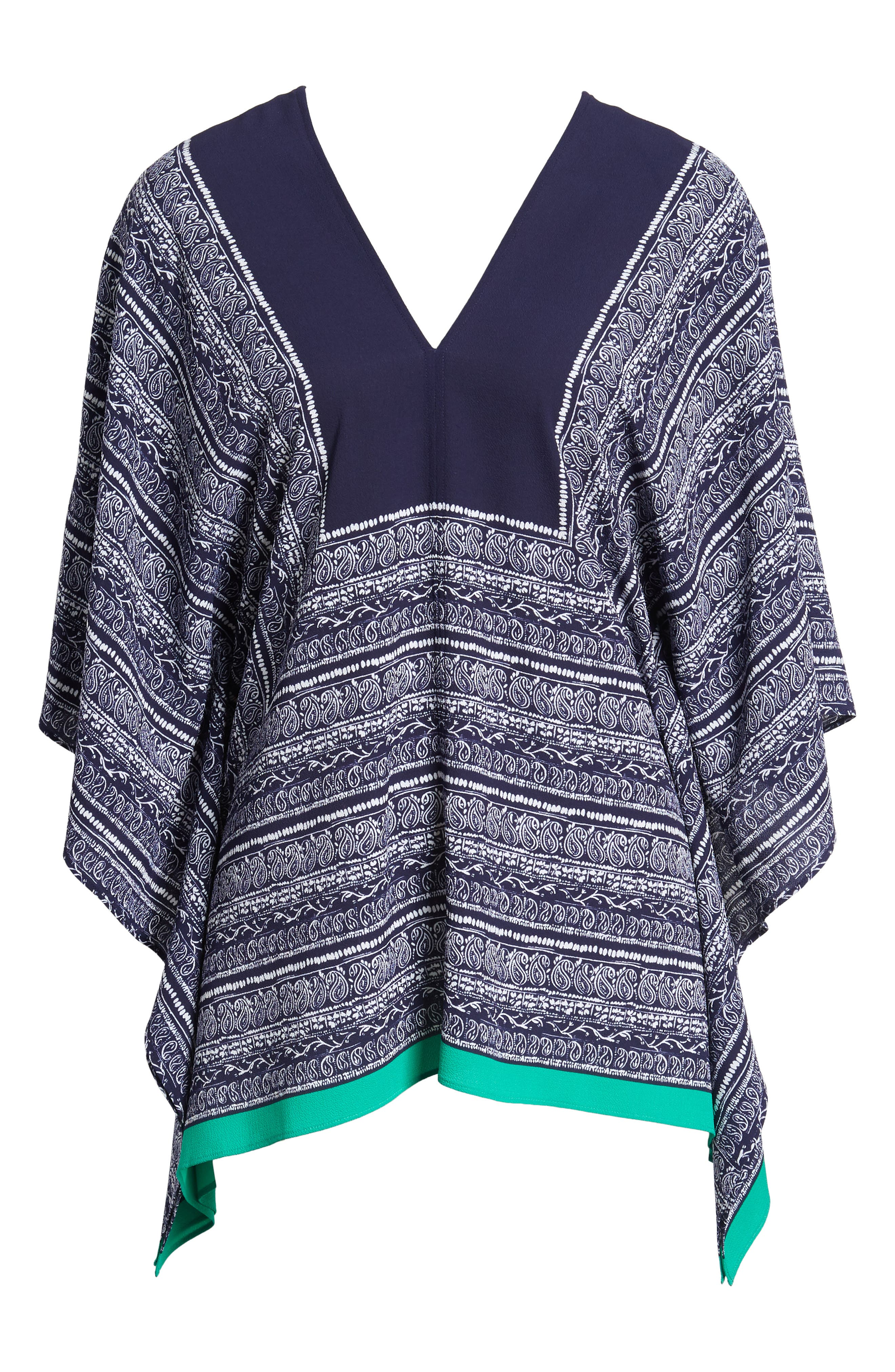 Paisley Scarf Poncho Top,                             Alternate thumbnail 7, color,                             EVENING NAVY