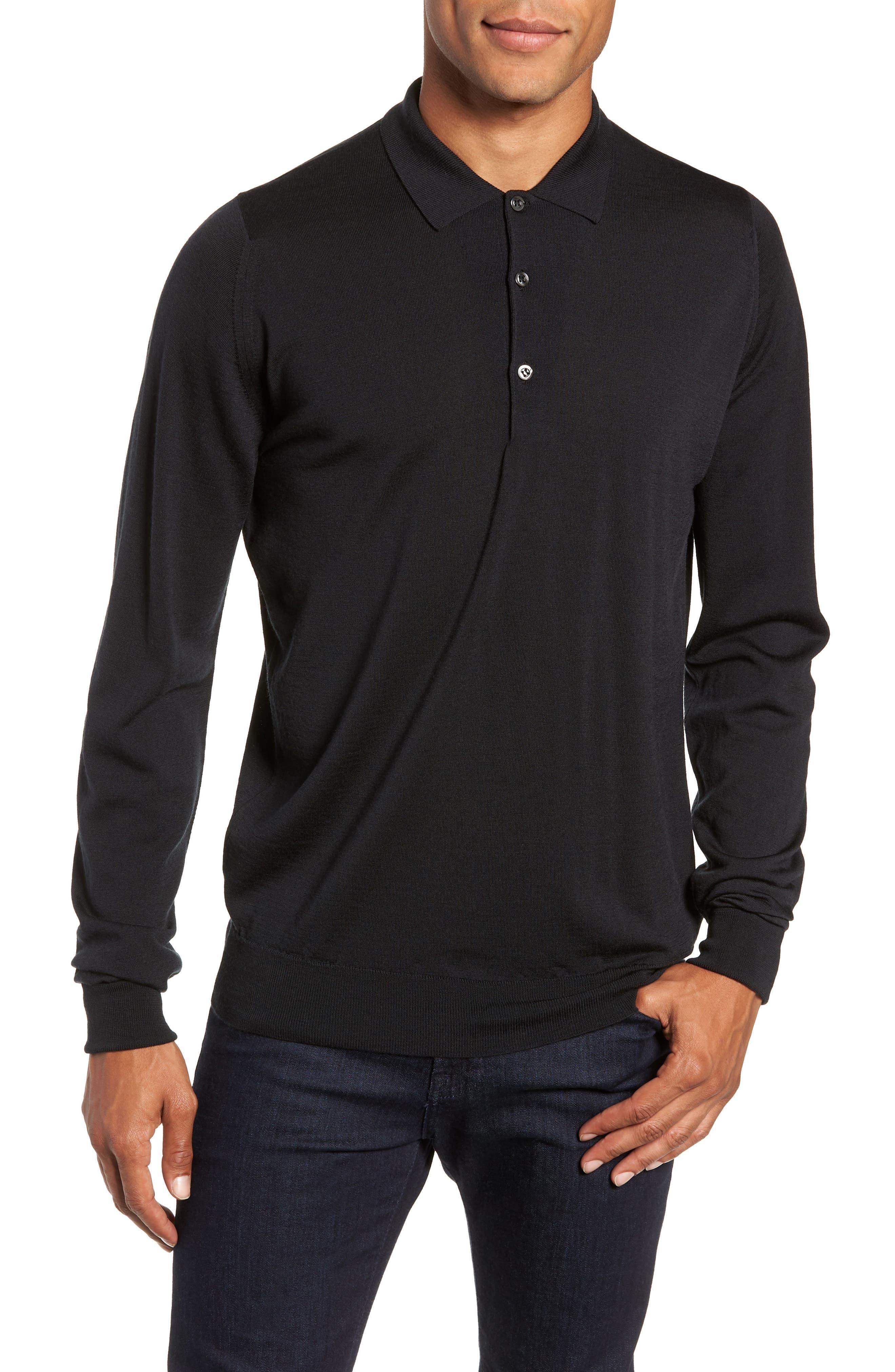 Slim Fit Long Sleeve Merino Polo,                         Main,                         color, 001