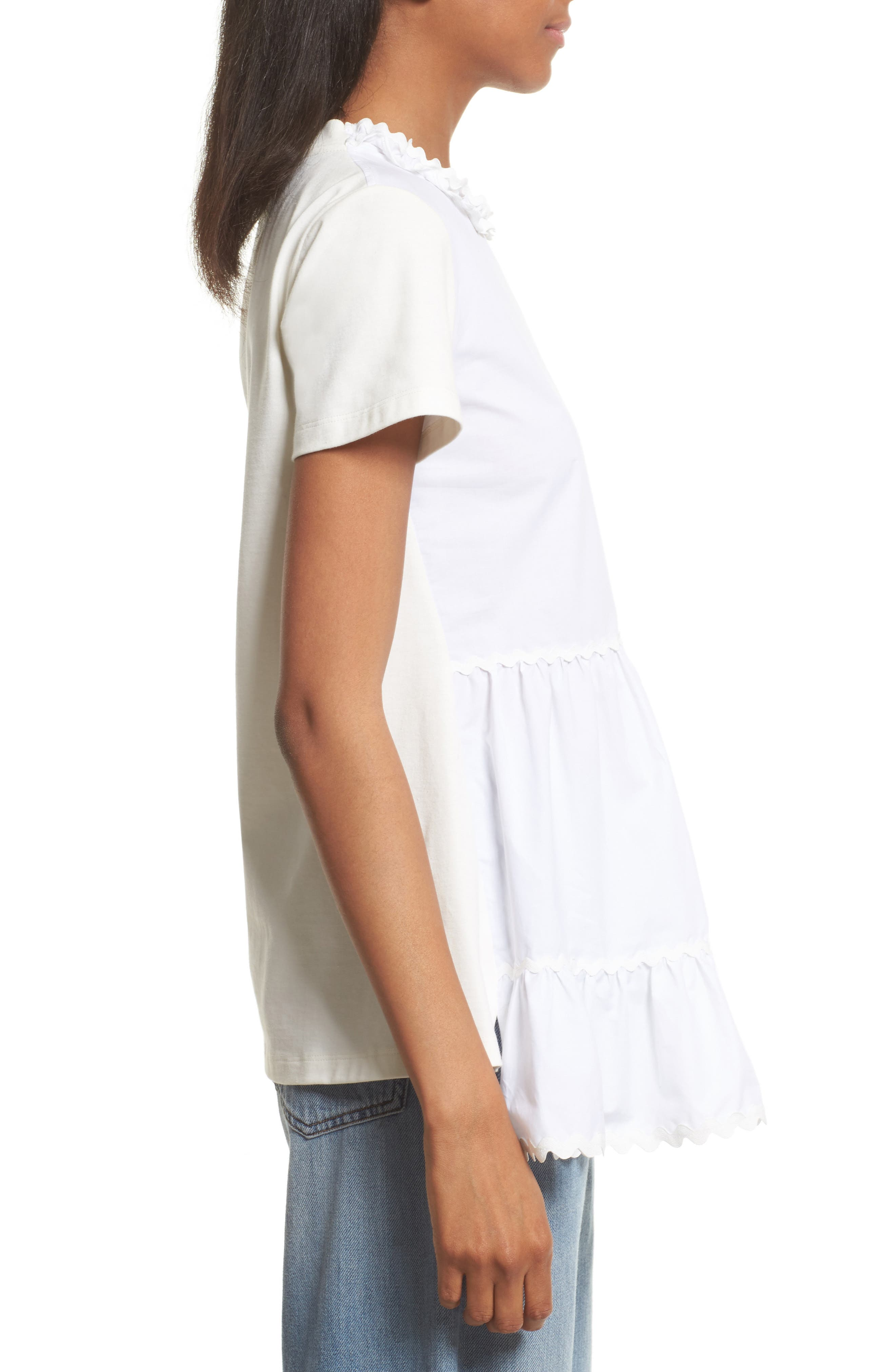 Tiered Ruffle Knit Top,                             Alternate thumbnail 3, color,                             100