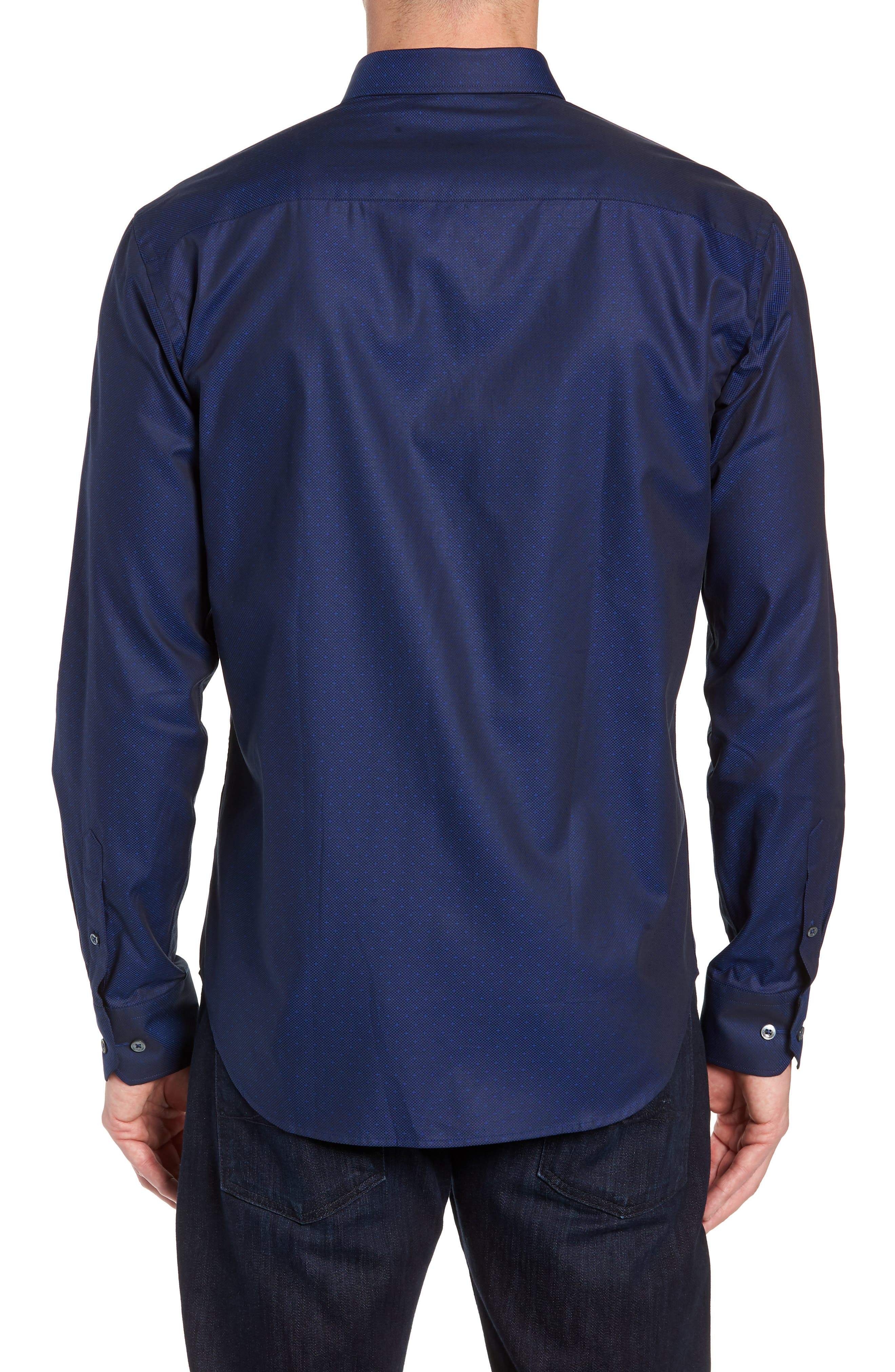 Shaped Fit Sport Shirt,                             Alternate thumbnail 3, color,                             MIDNIGHT