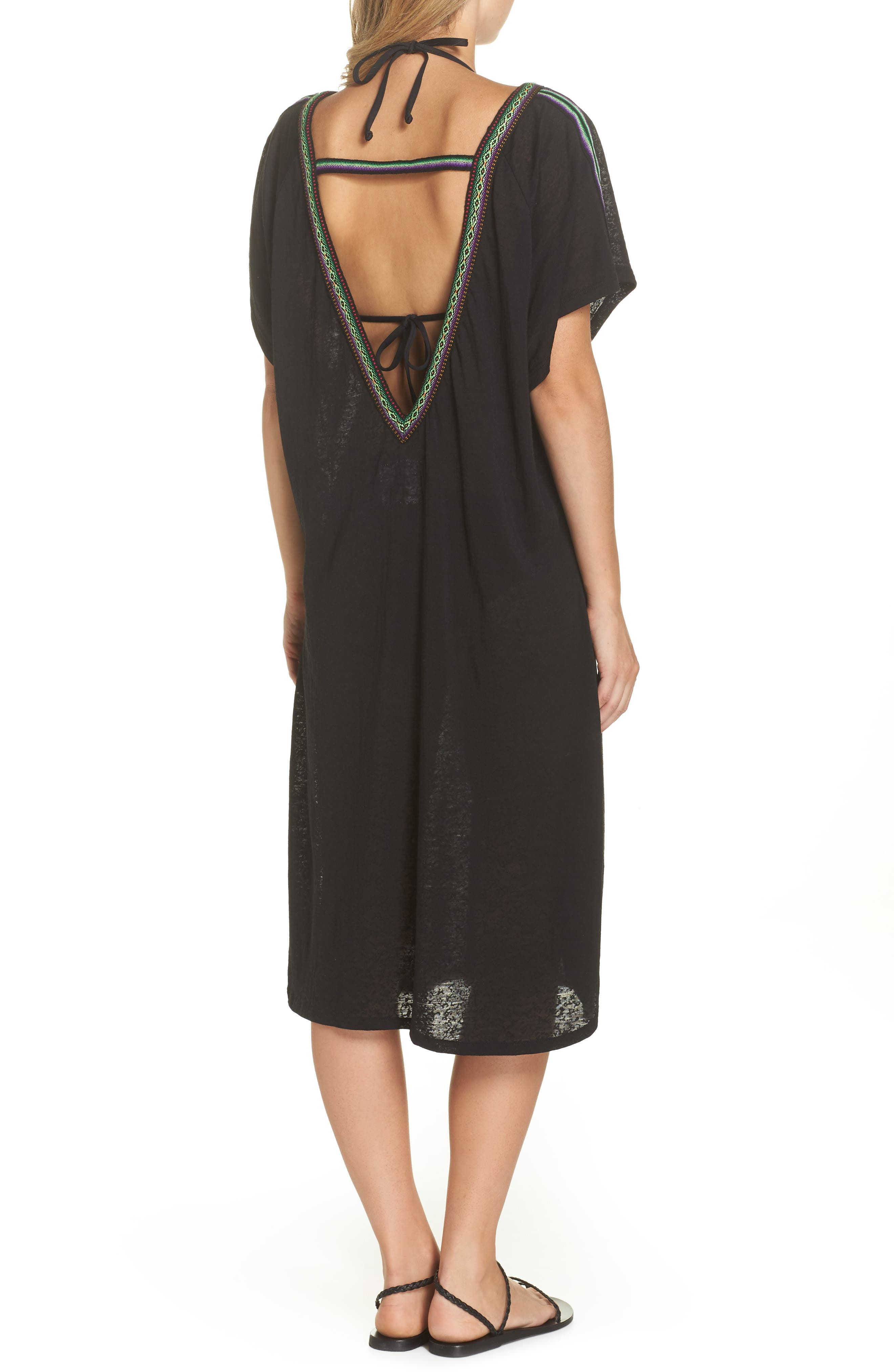 Cover-Up Midi Dress,                             Alternate thumbnail 2, color,                             001