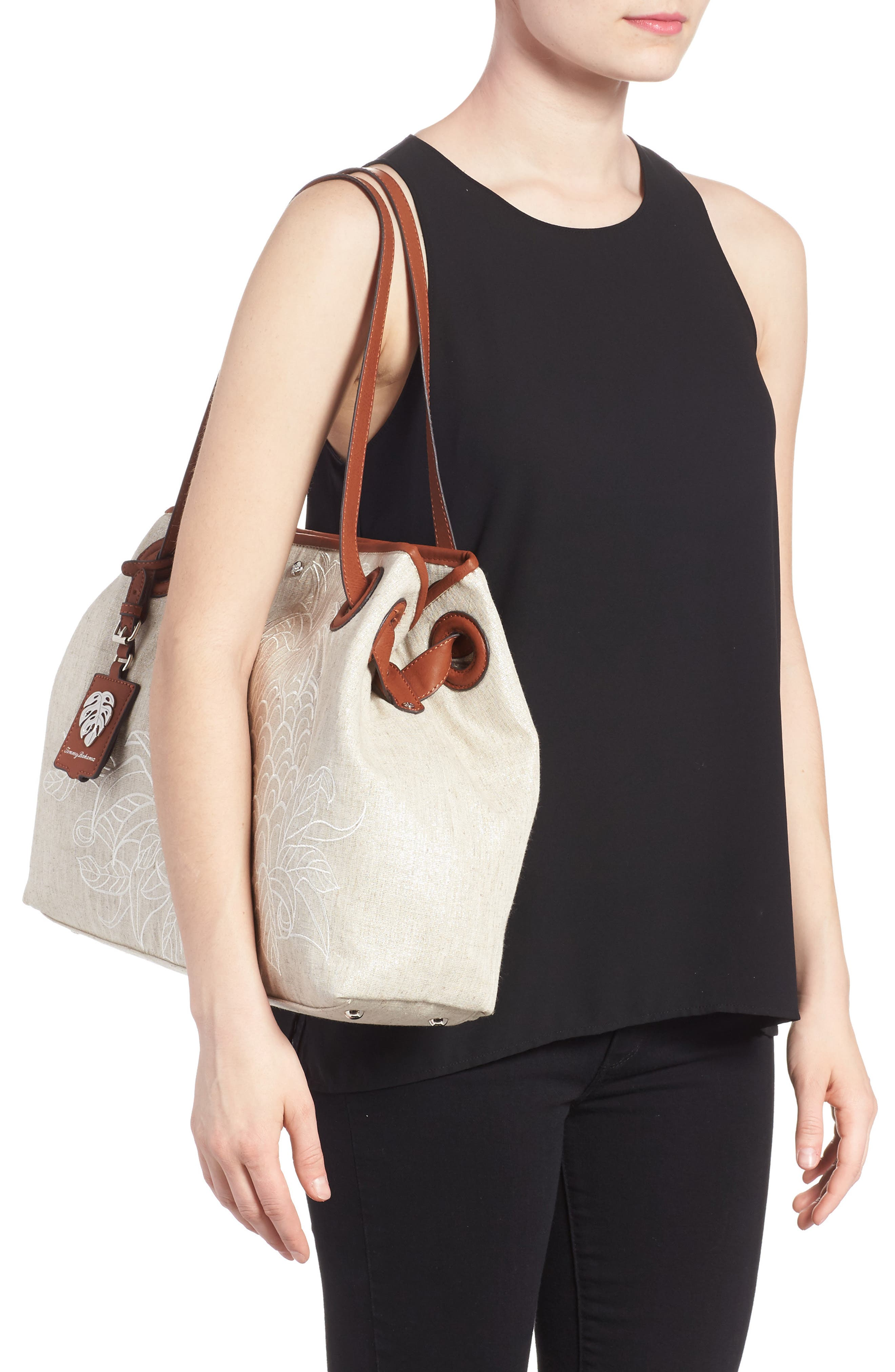 Waikiki Embroidered Canvas Tote,                             Alternate thumbnail 4, color,