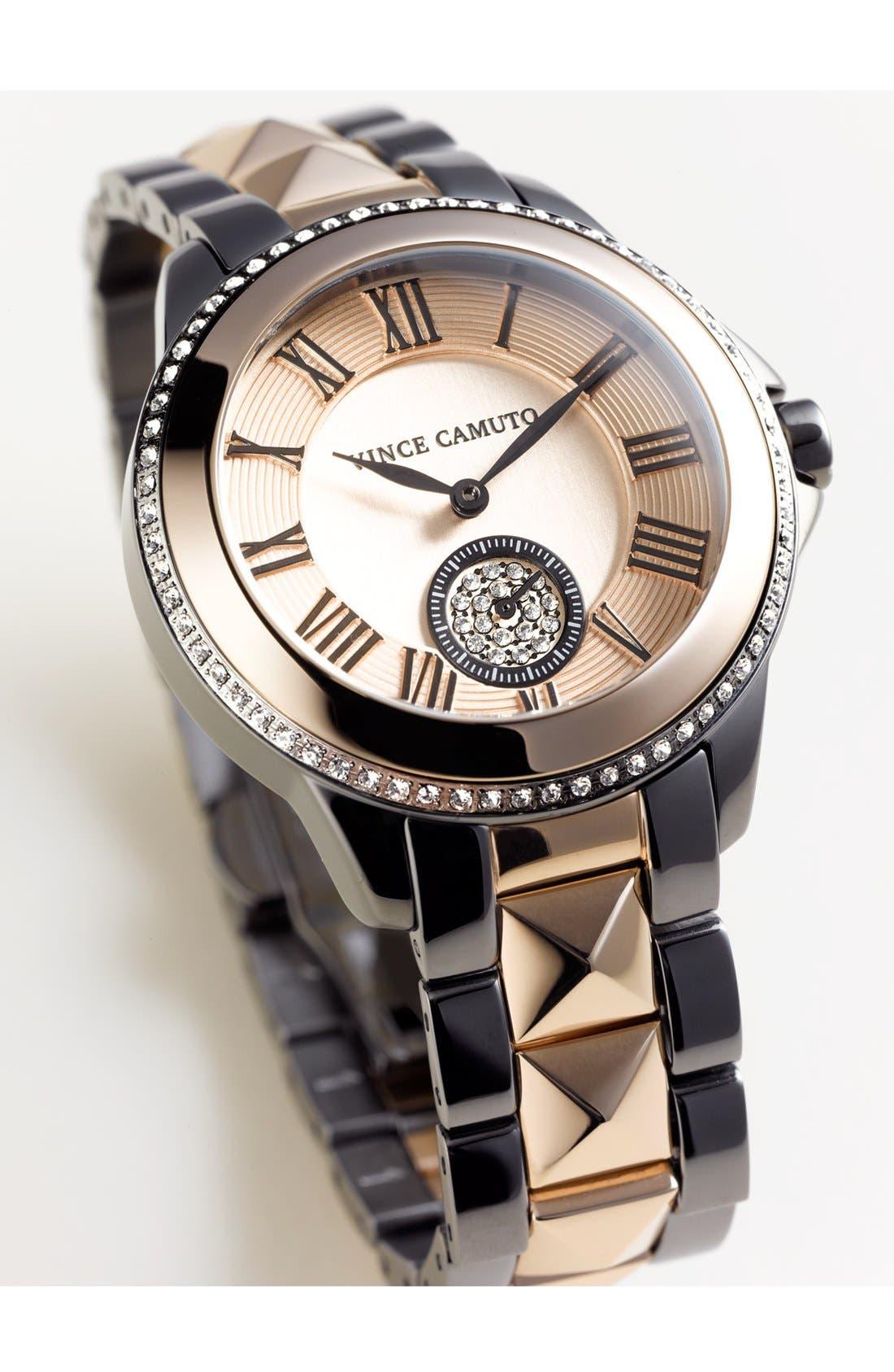 VINCE CAMUTO,                             Pyramid Bracelet Watch, 38mm,                             Alternate thumbnail 3, color,                             040