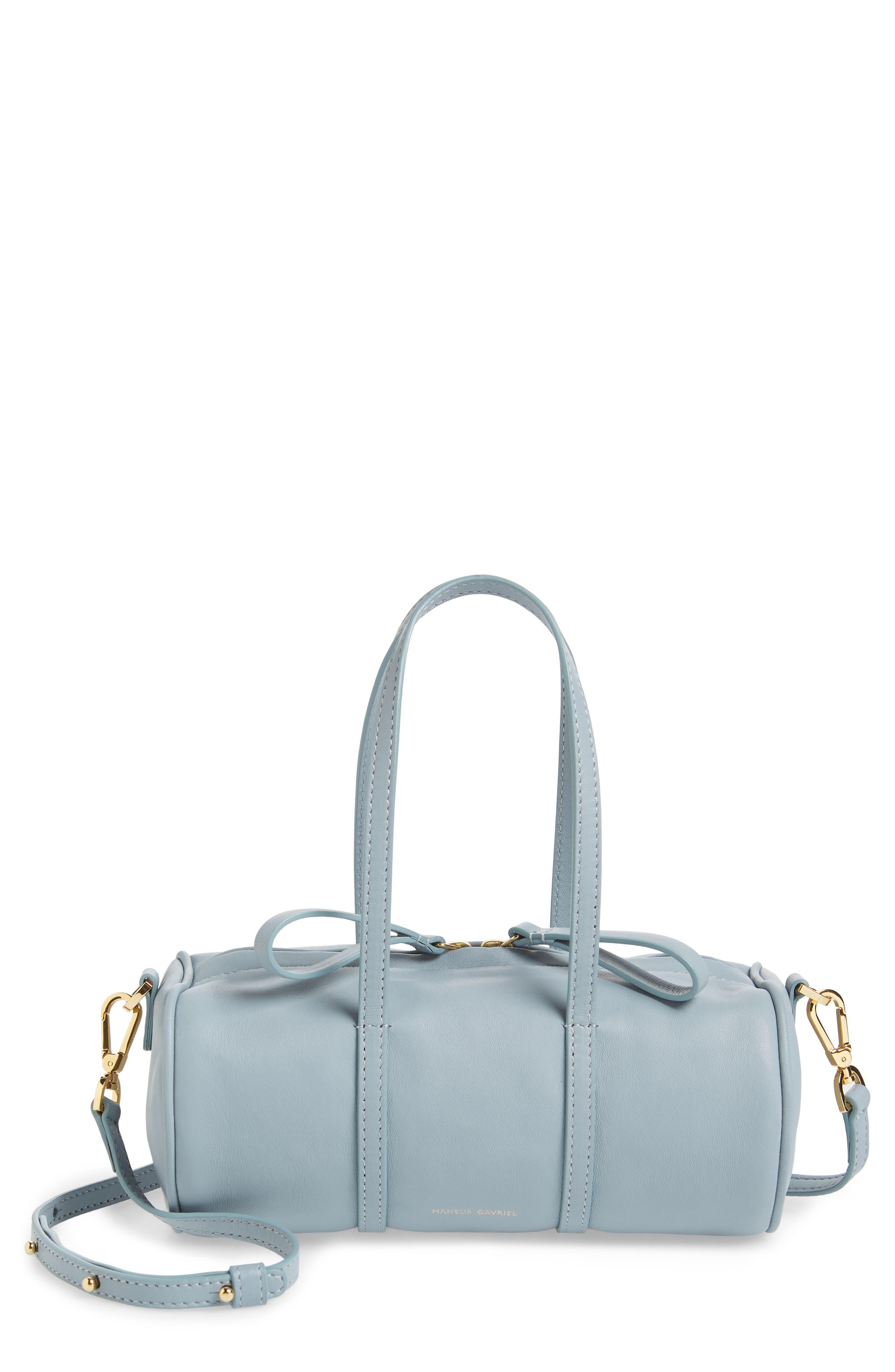 Mini Mini Leather Duffel Bag,                         Main,                         color, GREY BLUE