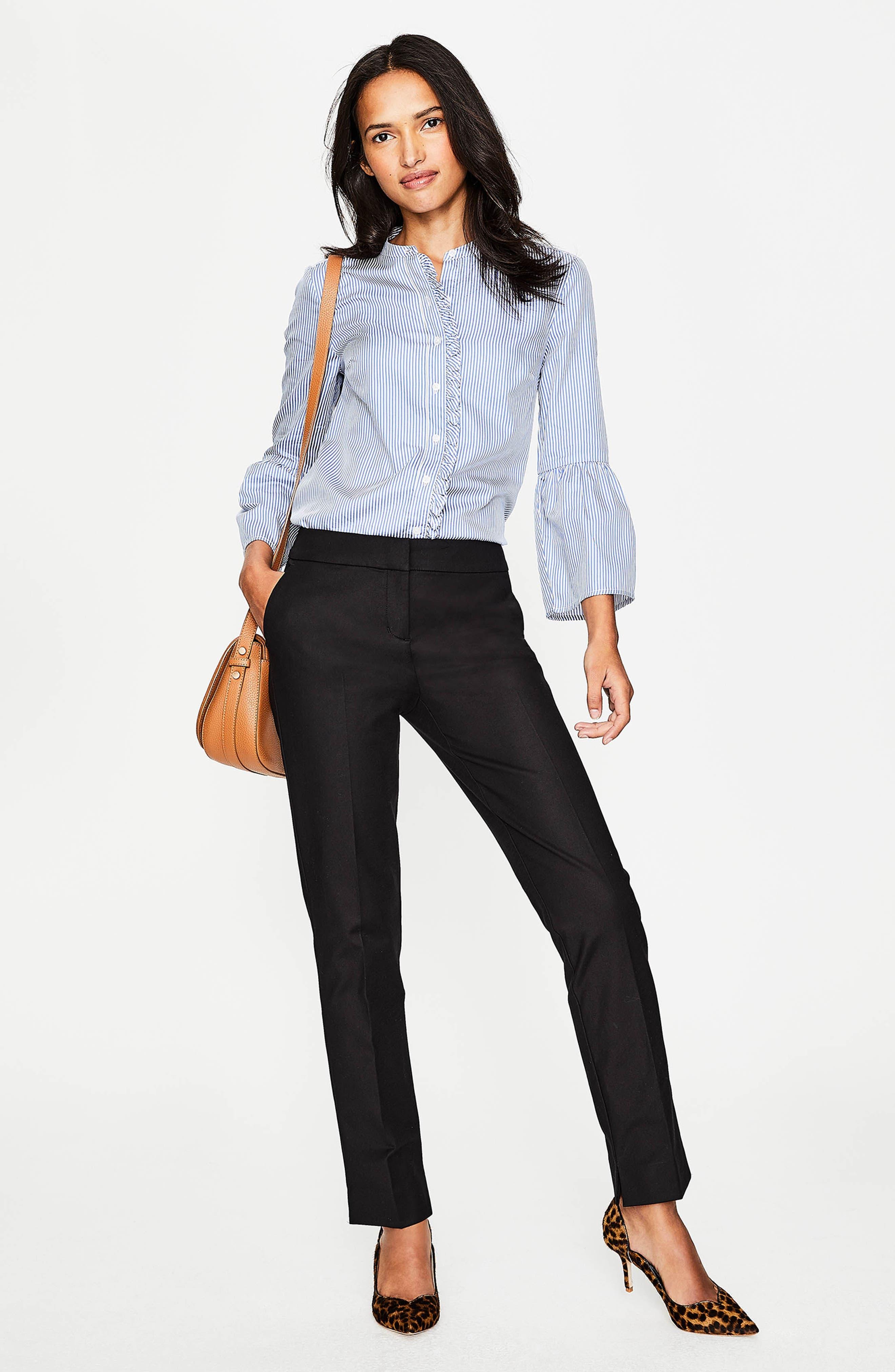 Richmond Stretch Cotton Trousers,                             Alternate thumbnail 8, color,                             BLACK