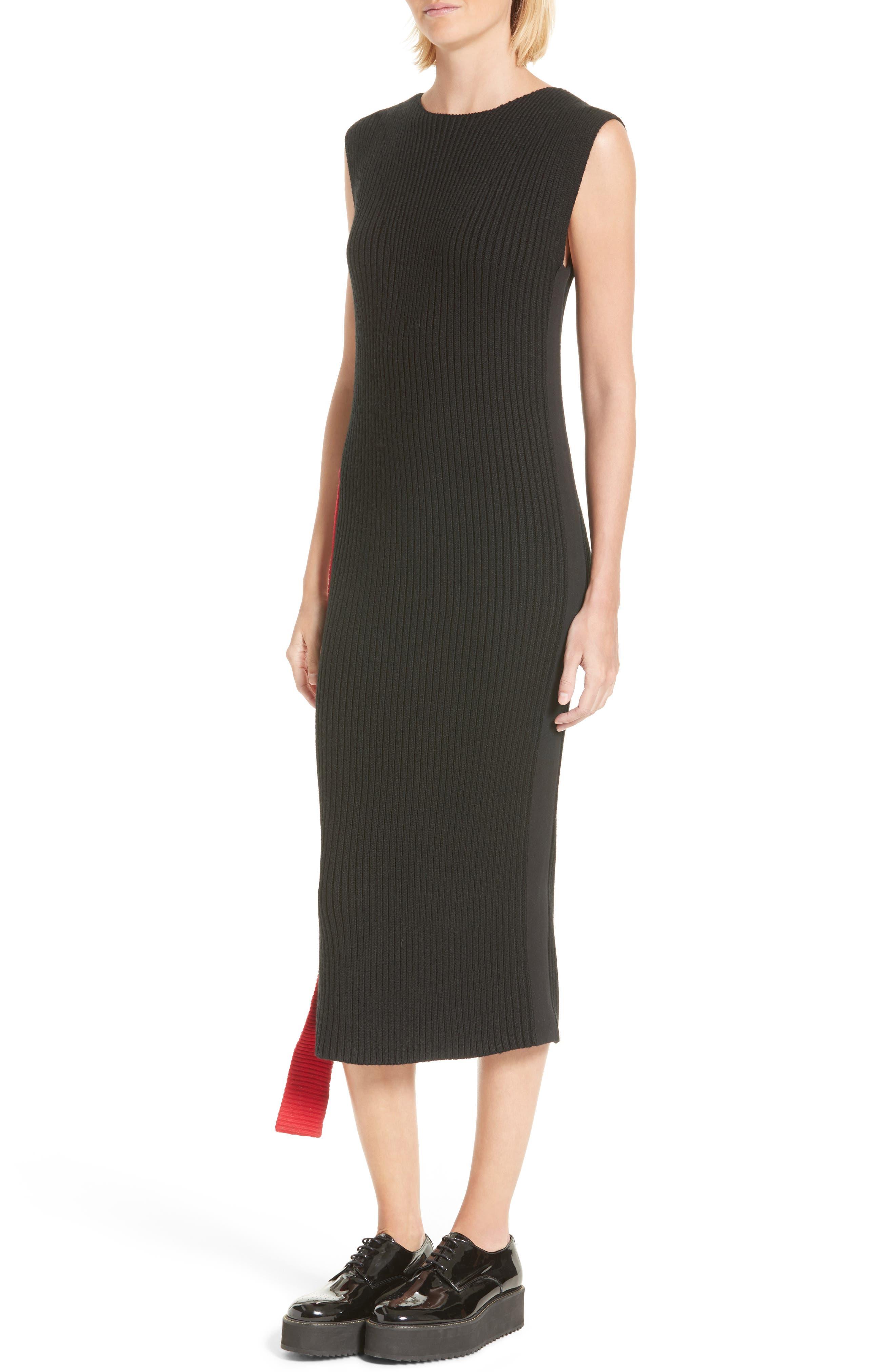 Serat Stripe Rib Knit Dress,                             Alternate thumbnail 4, color,                             001