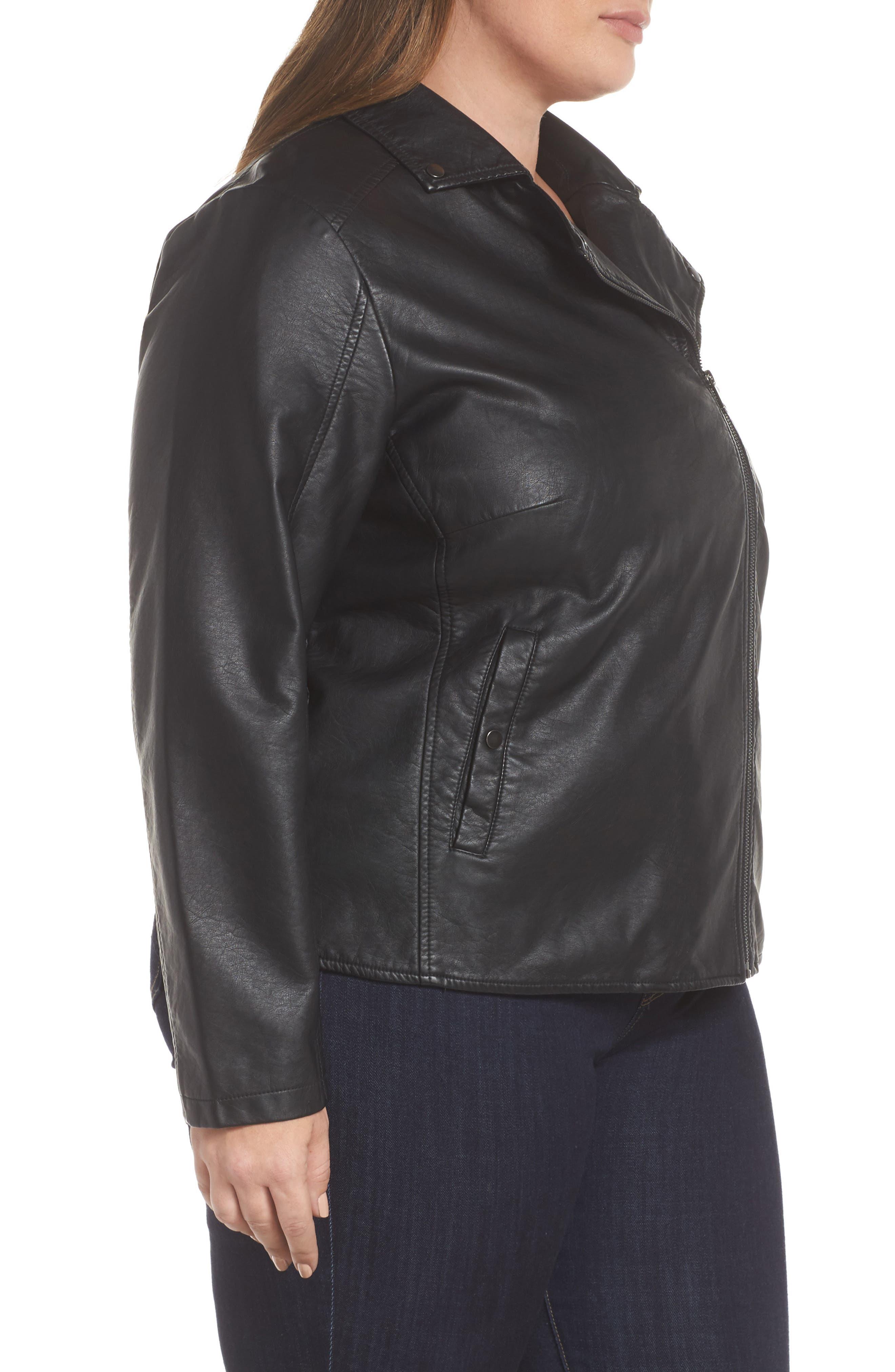 Karisa Faux Leather Moto Jacket,                             Alternate thumbnail 3, color,                             002