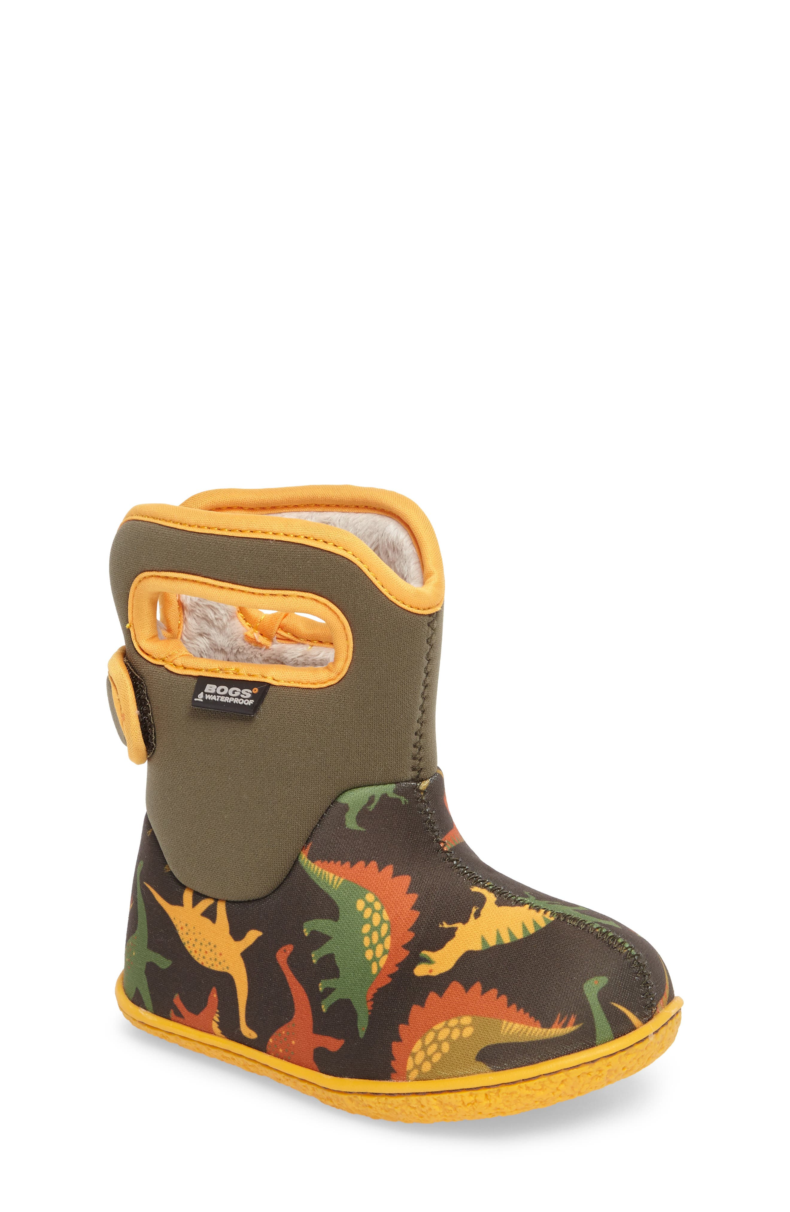 Baby Bog Classic Dino Insulated Waterproof Boot,                             Main thumbnail 1, color,                             356