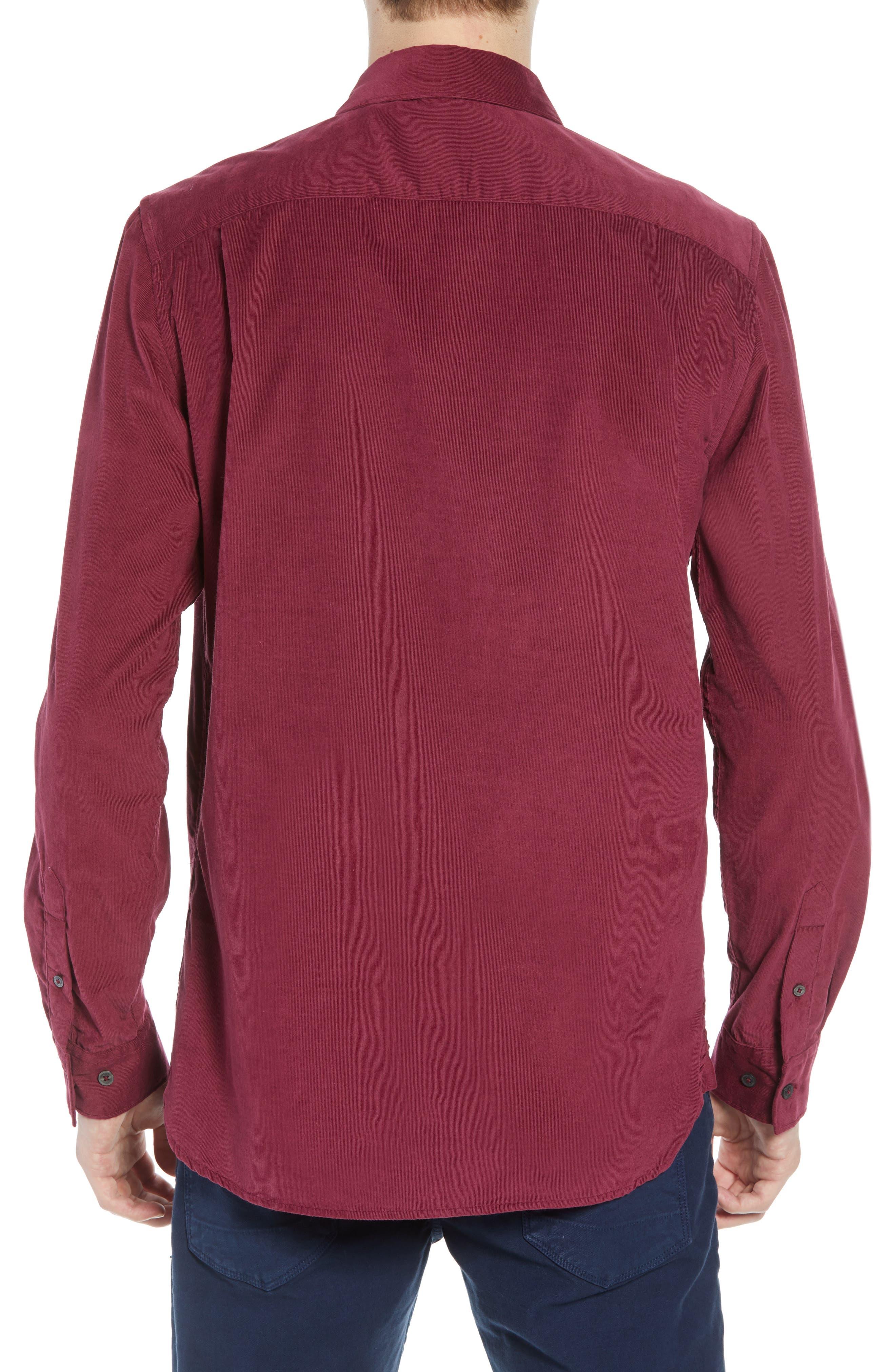 28 Wales Regular Fit Corduroy Shirt,                             Alternate thumbnail 3, color,                             RASPBERRY BERET