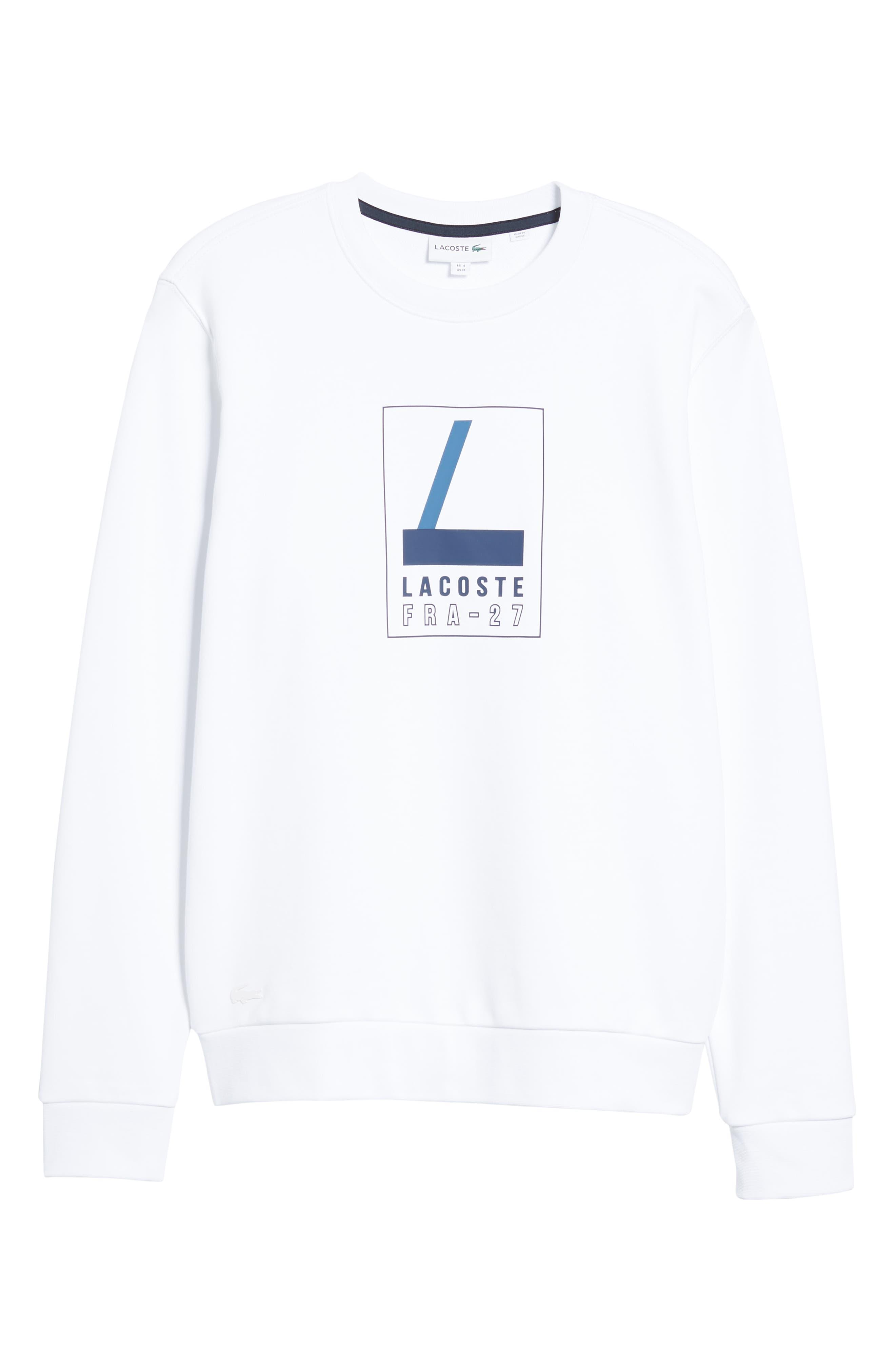 Heritage Regular Fit Sweatshirt,                             Alternate thumbnail 6, color,                             WHITE/ NAVY BLUE