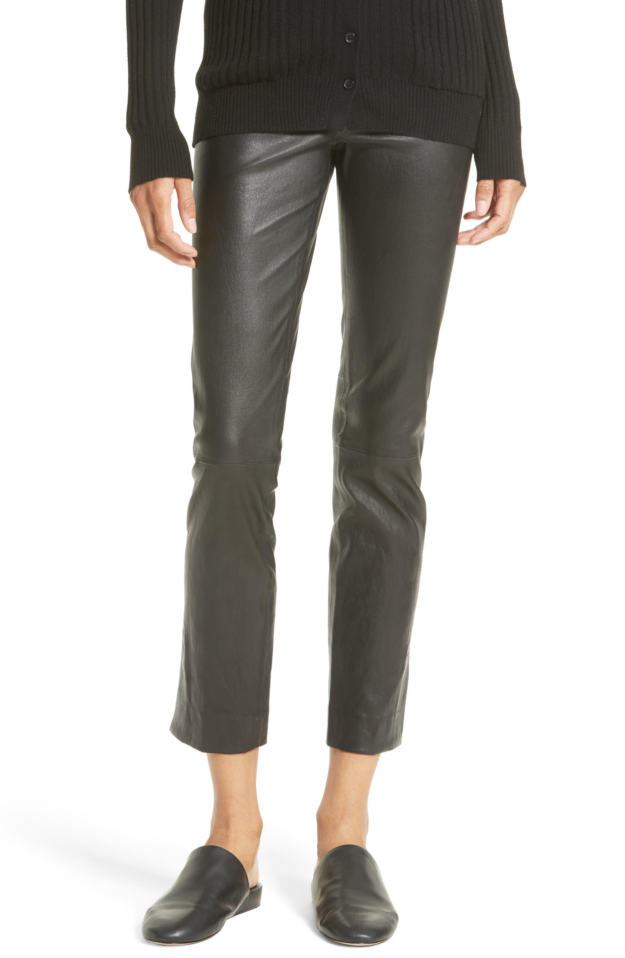 Slit Hem Crop Leather Pants,                             Main thumbnail 1, color,                             001