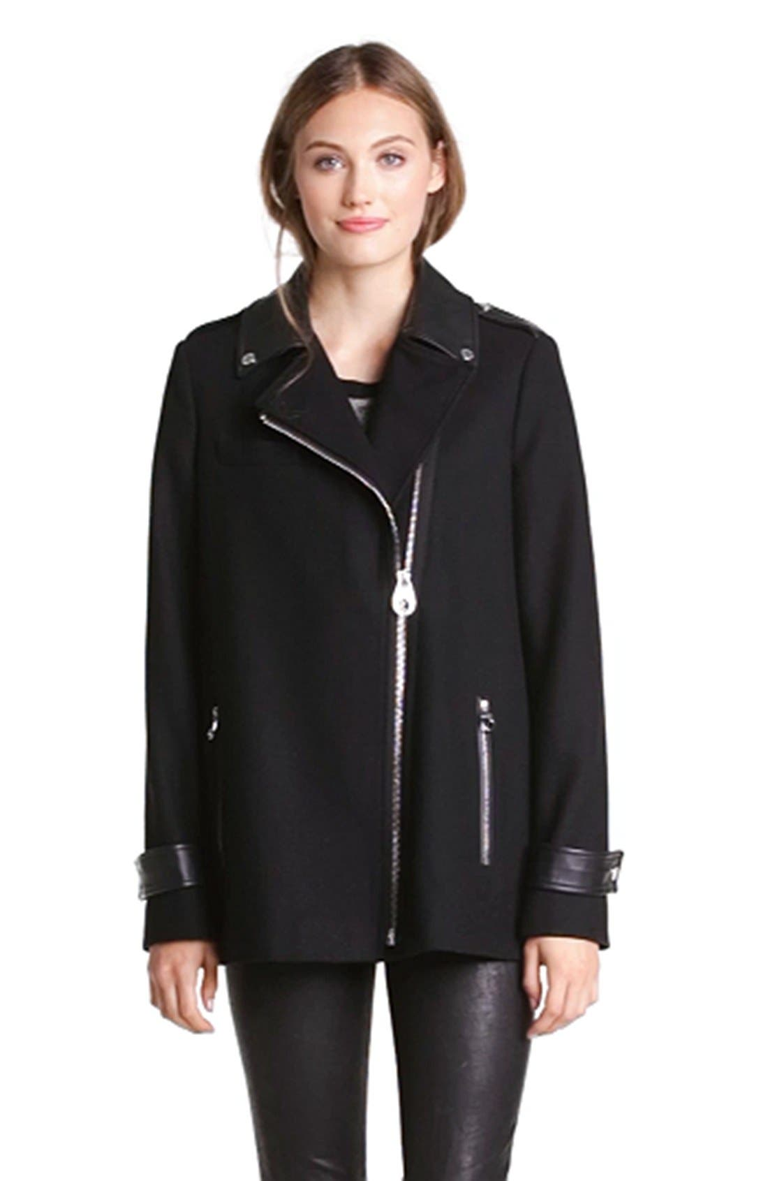 Faux Leather Trim Asymmetrical Jacket,                             Alternate thumbnail 4, color,                             001