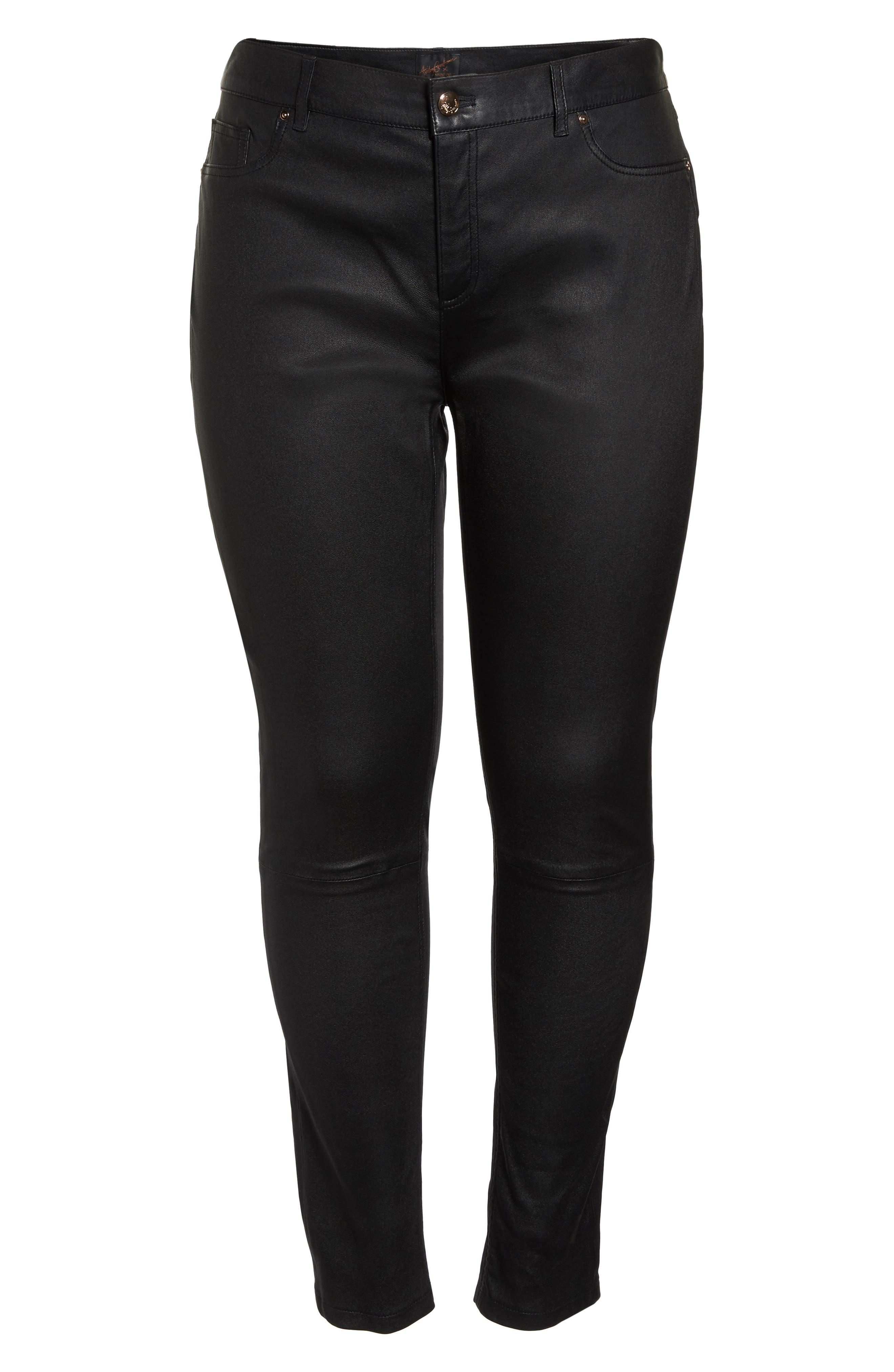 Eboli Leather Pants,                             Alternate thumbnail 7, color,                             001
