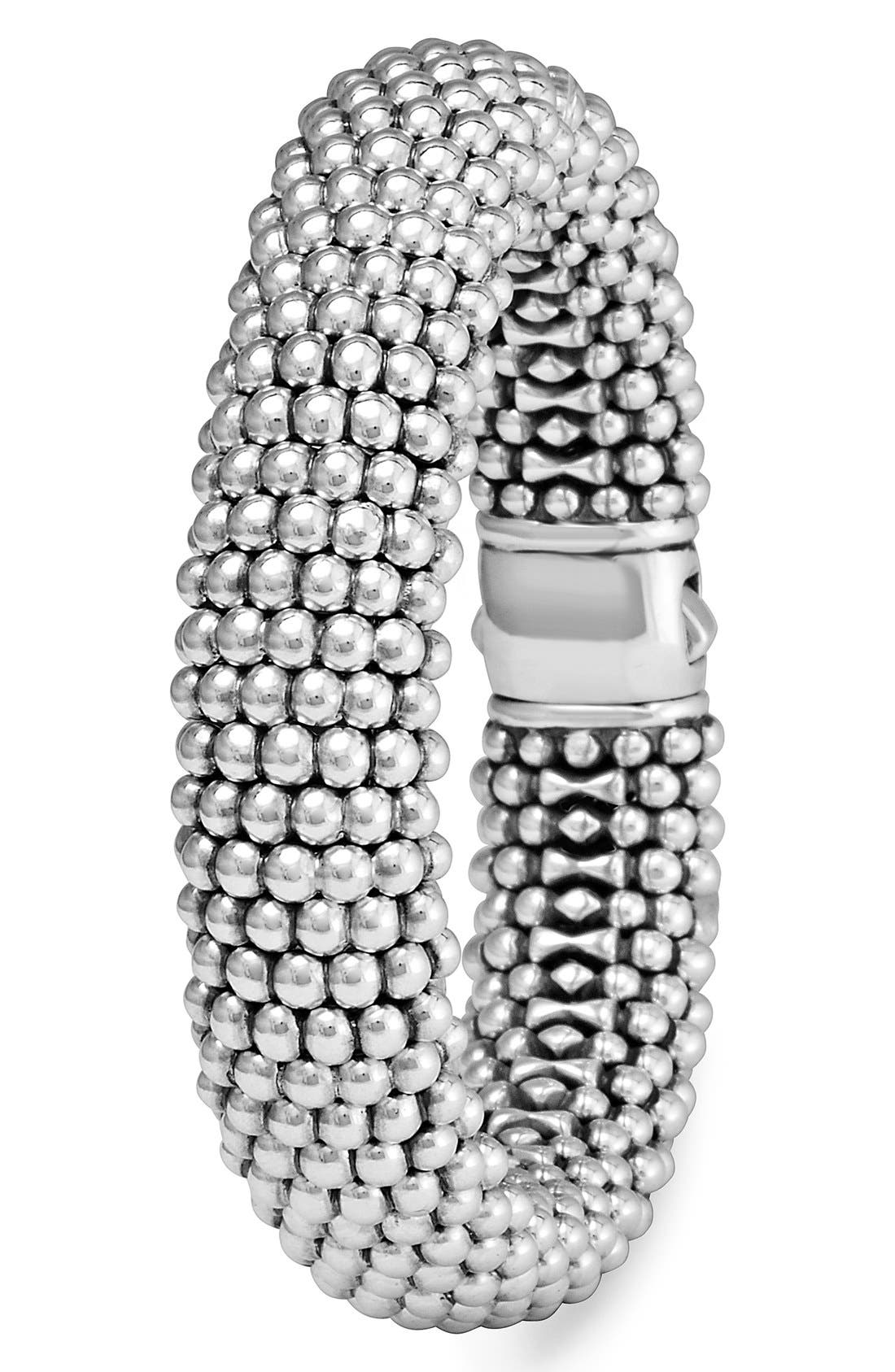Signature Caviar Wide Rope Bracelet,                             Alternate thumbnail 3, color,                             SILVER/ GOLD