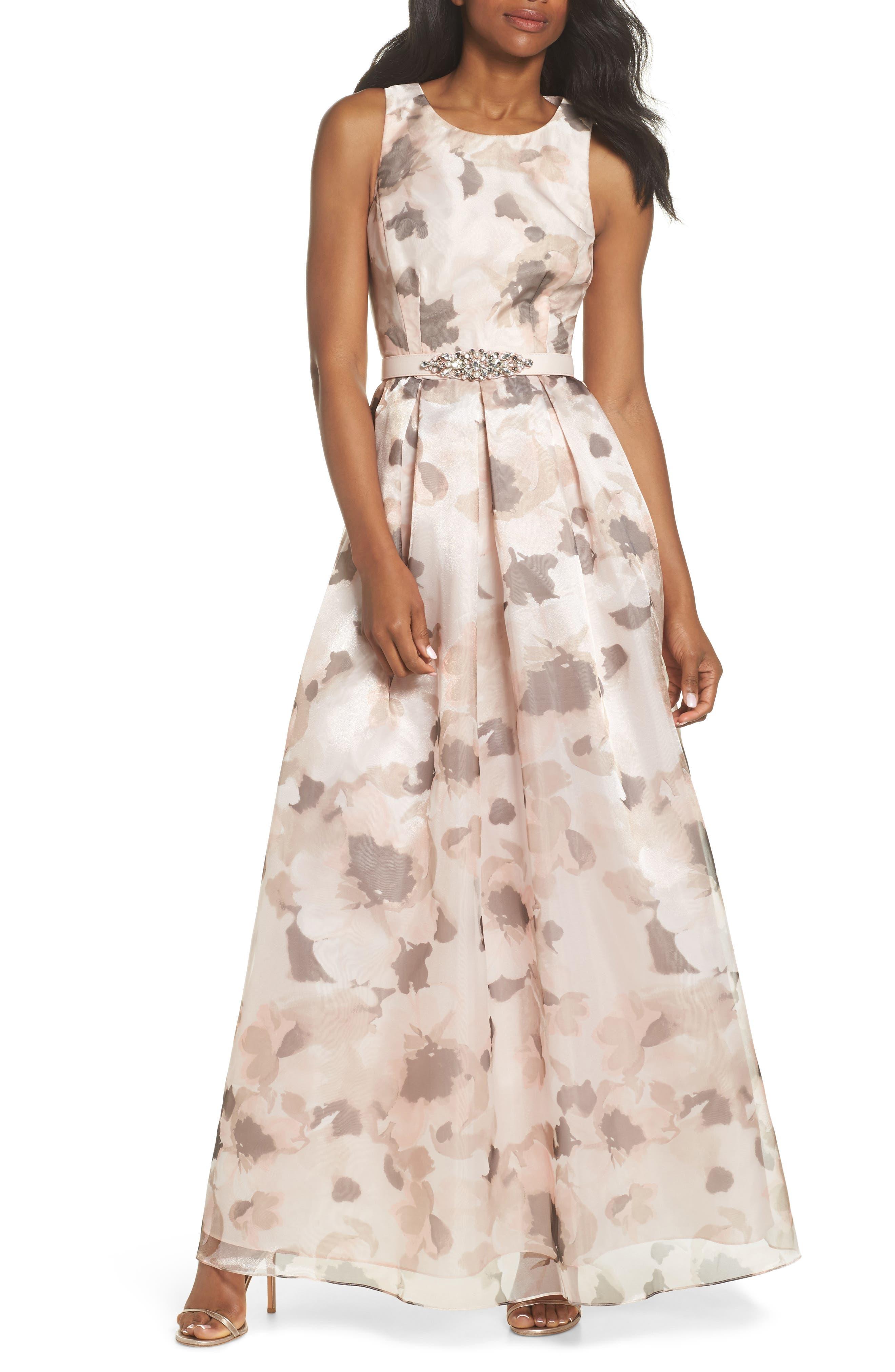Embellished Belt Print Organza Ballgown,                         Main,                         color,