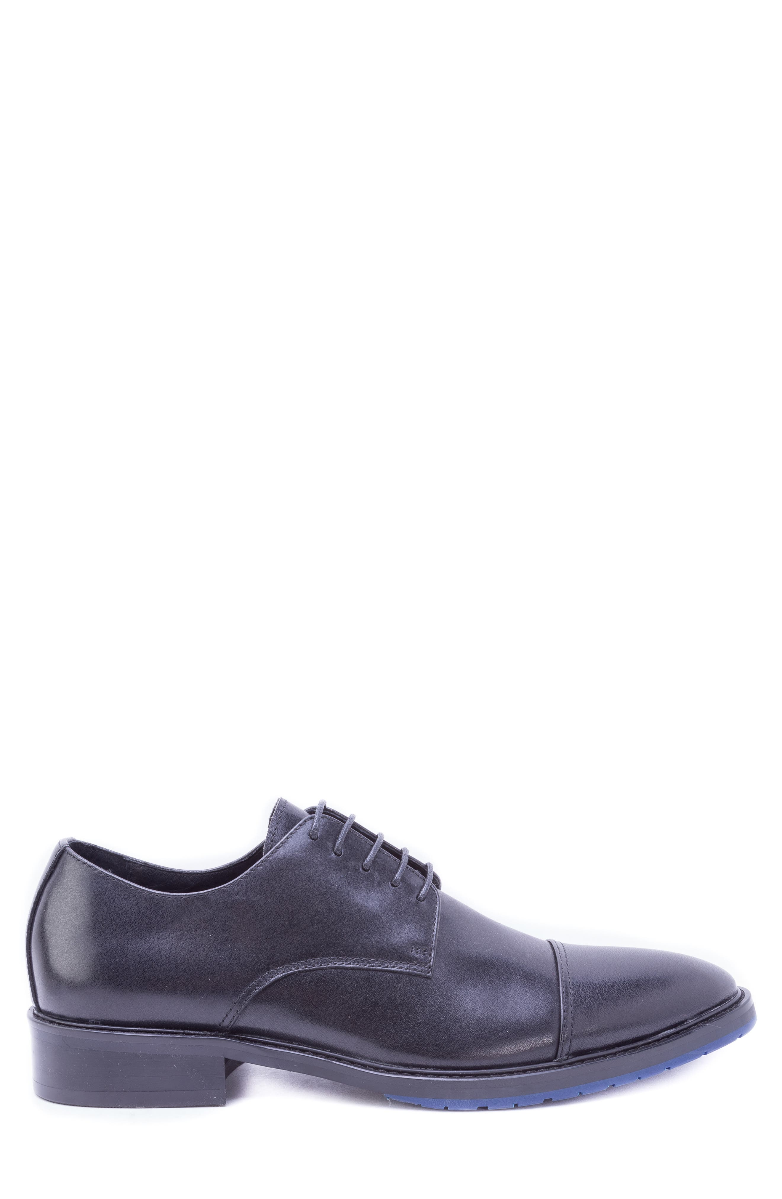 Welti Cap Toe Derby,                             Alternate thumbnail 3, color,                             BLACK LEATHER