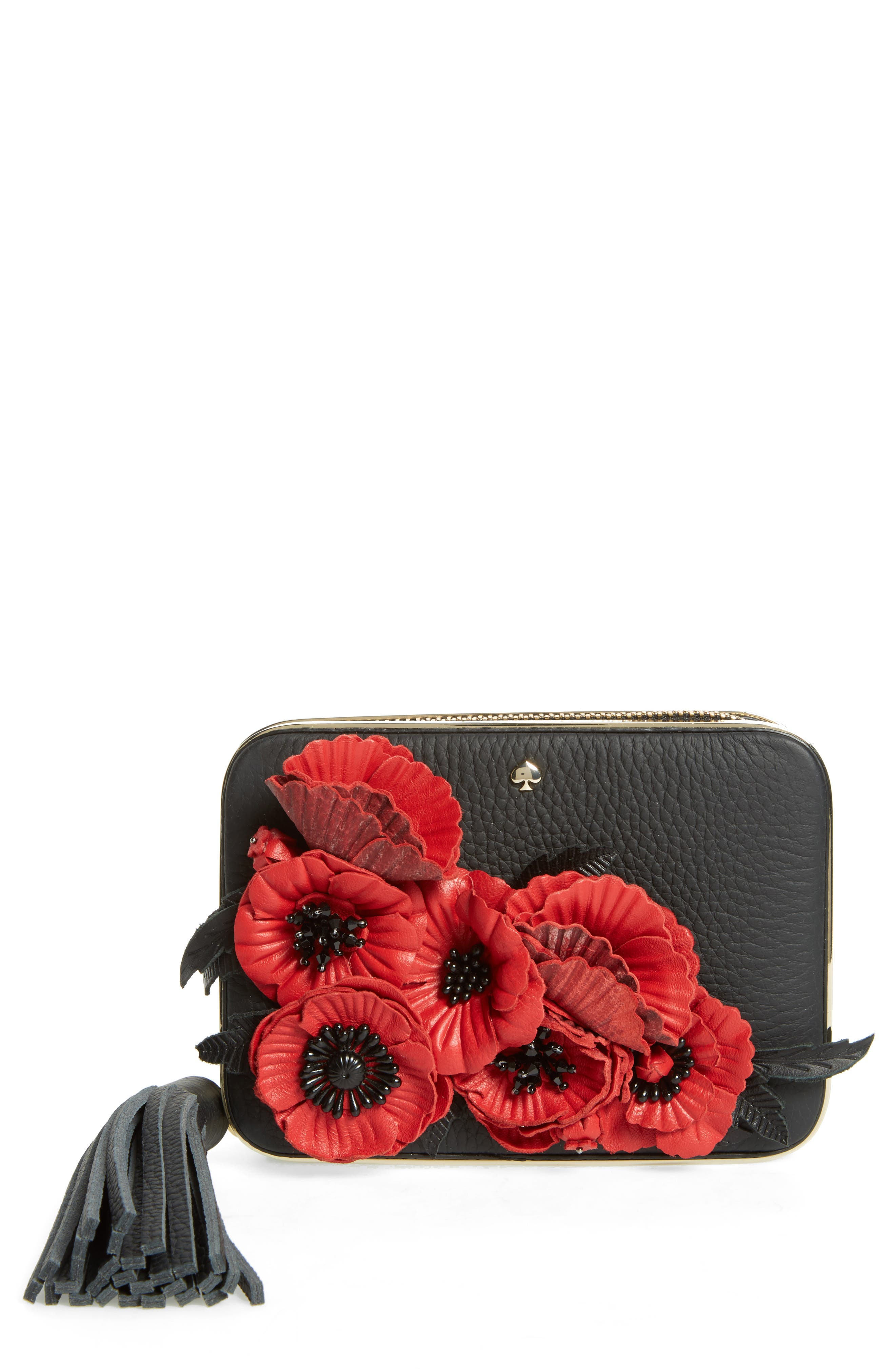 madison evening belles zurie leather frame clutch,                         Main,                         color, 001