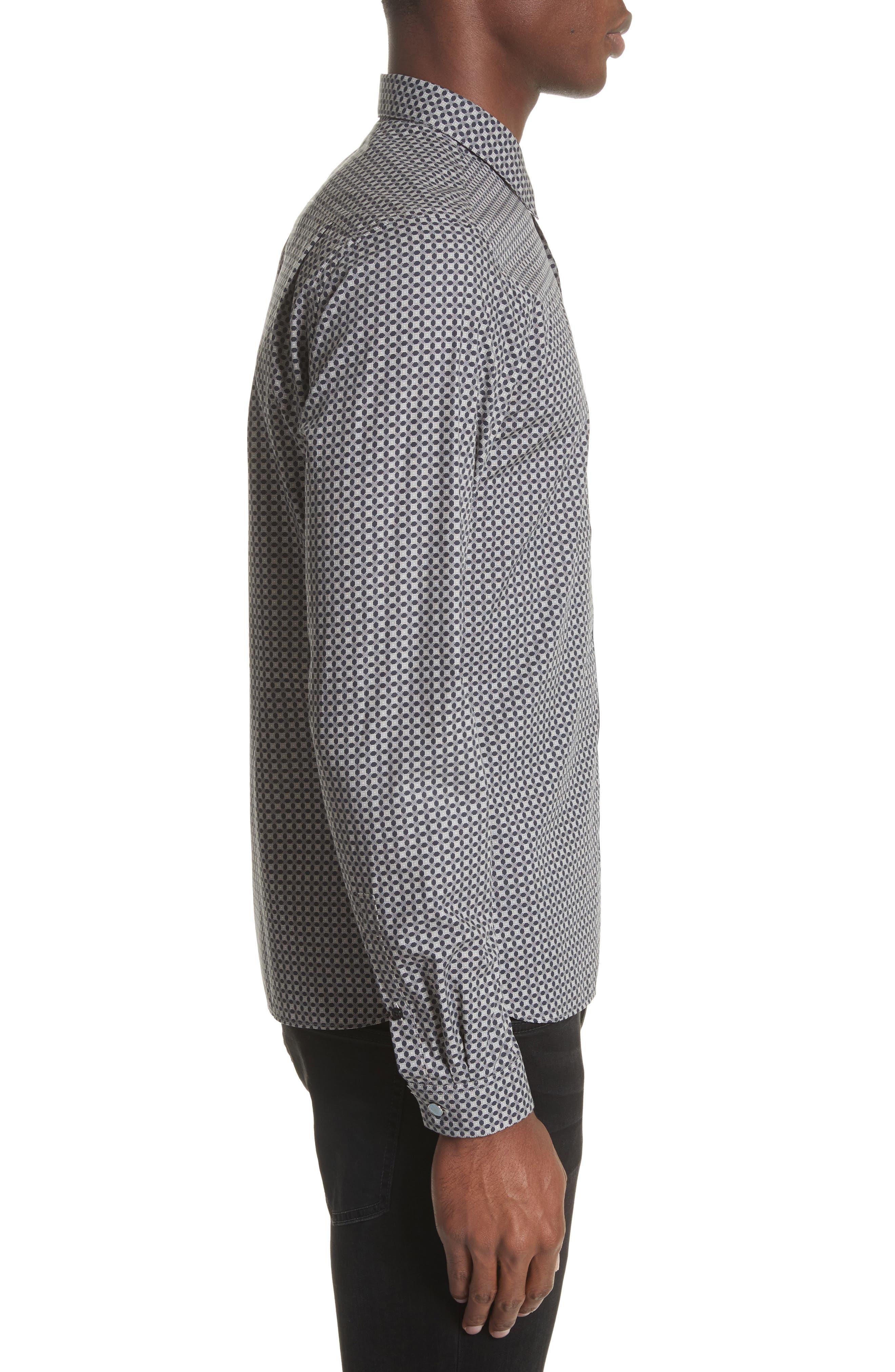 Geometric Print Woven Shirt,                             Alternate thumbnail 3, color,                             020