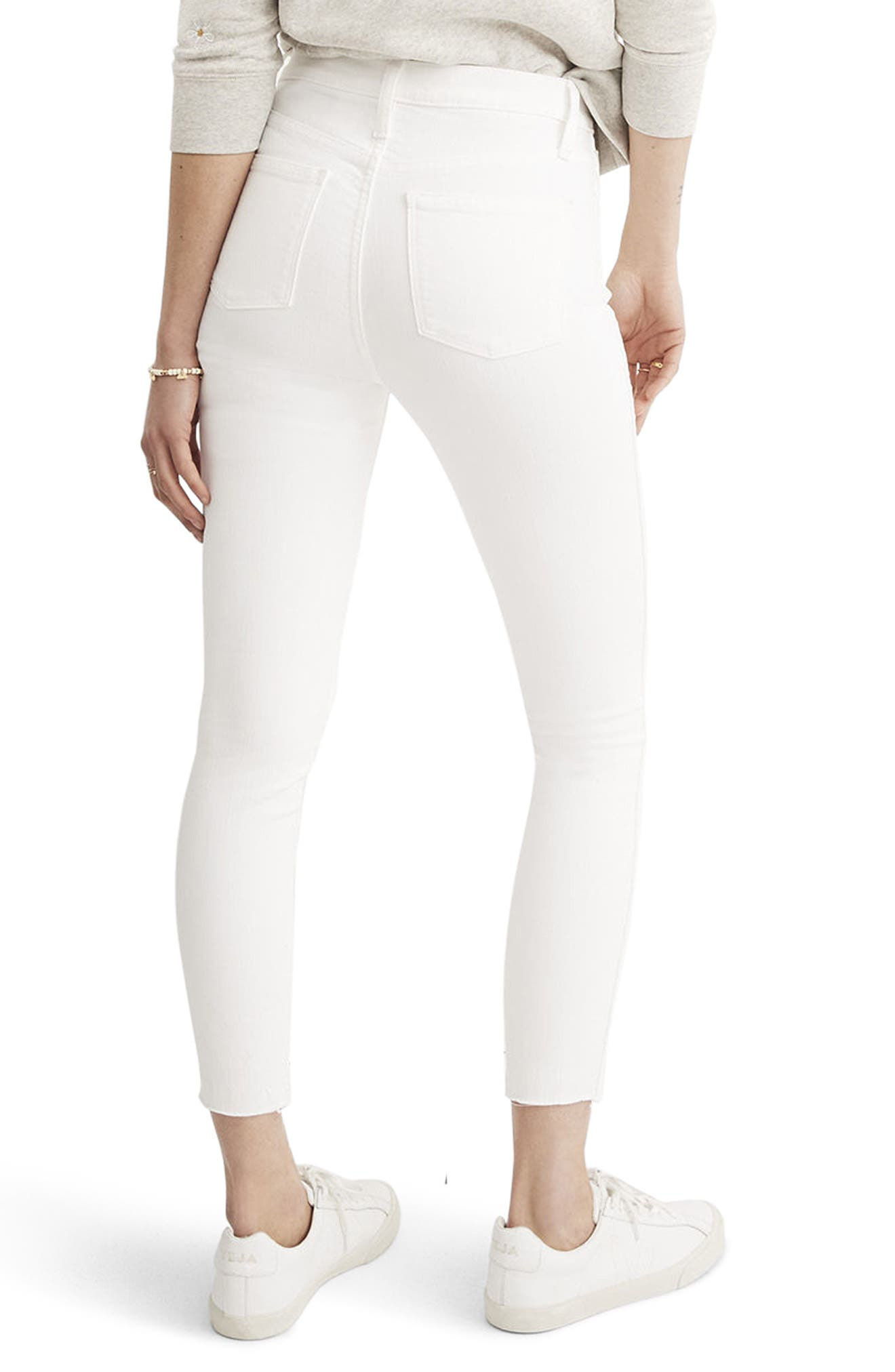 10-Inch Button High Waist Crop Skinny Jeans,                             Alternate thumbnail 2, color,                             PURE WHITE