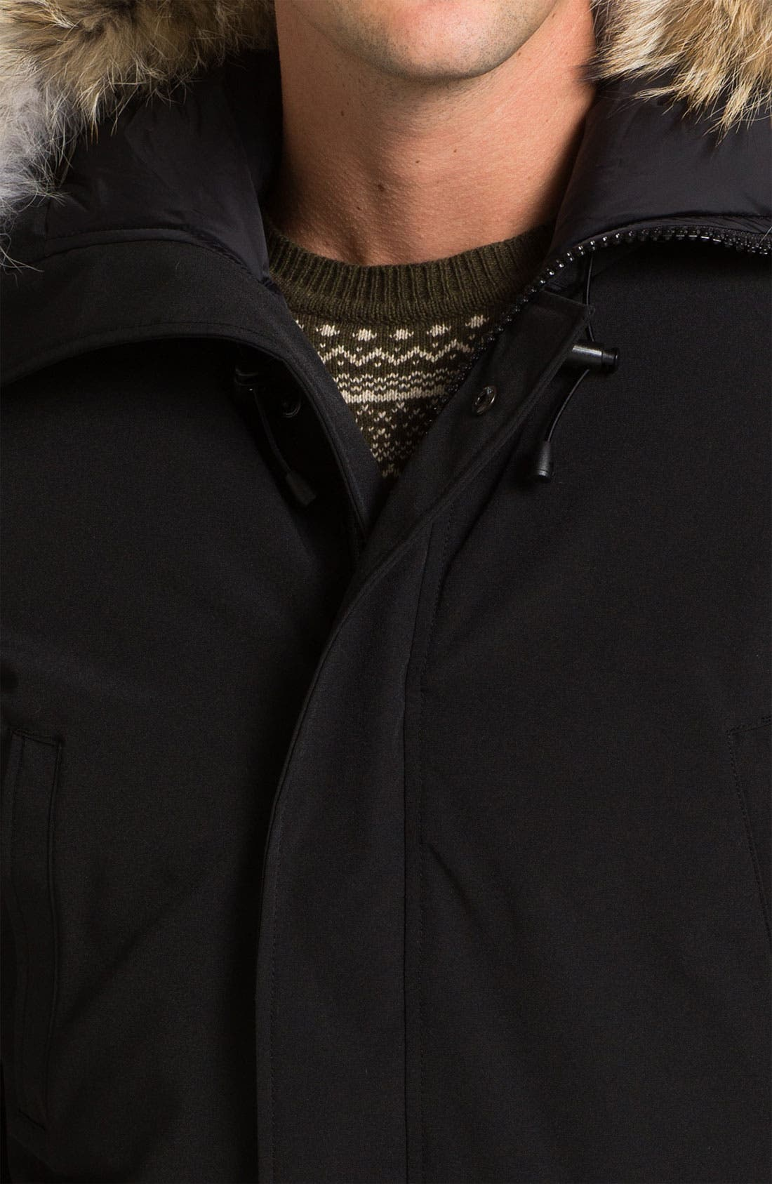 'Chilliwack' Down Bomber Jacket with Genuine Coyote Trim,                             Alternate thumbnail 3, color,                             001