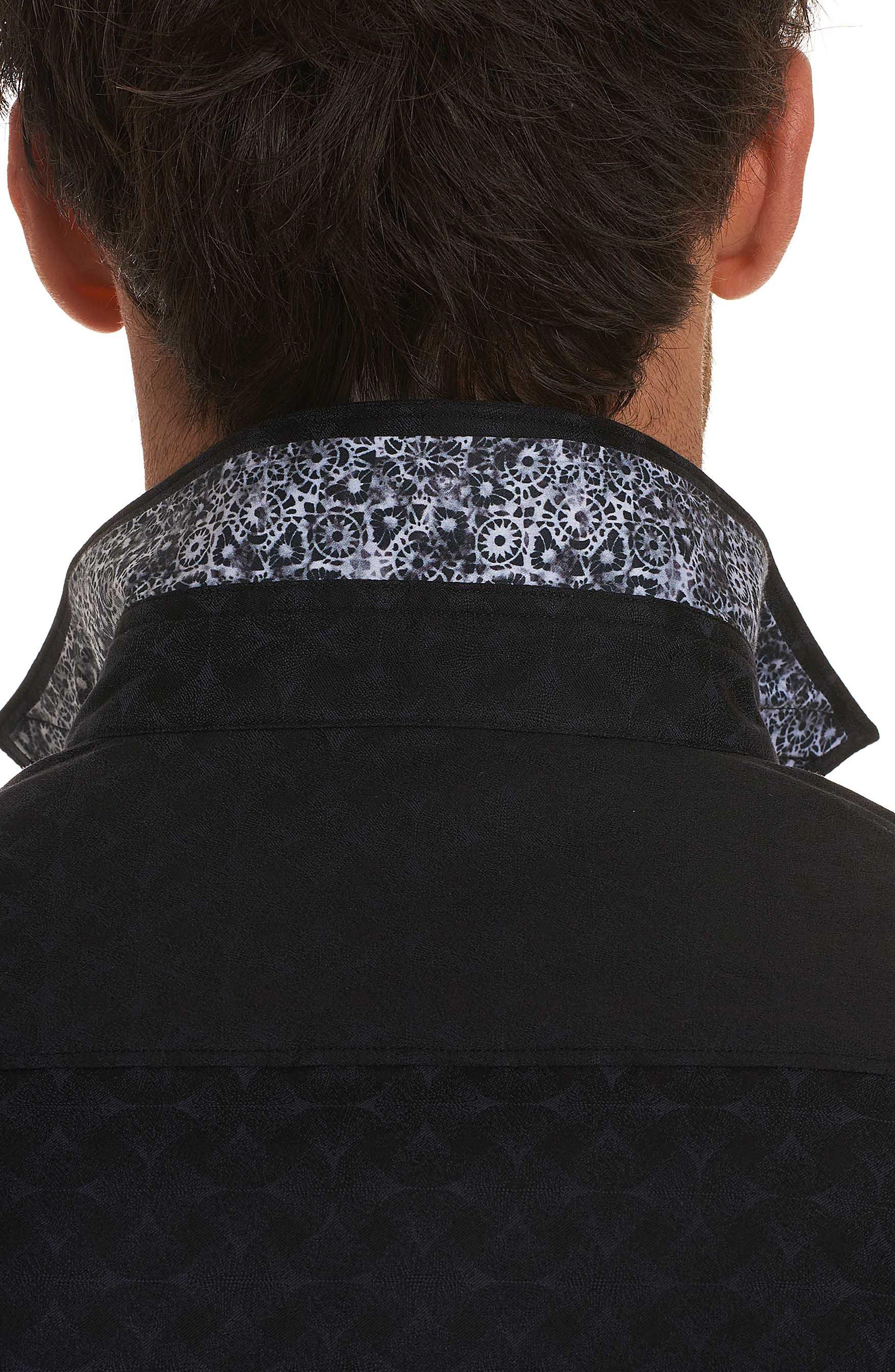 Diamante Classic Fit Sport Shirt,                             Alternate thumbnail 8, color,                             BLACK