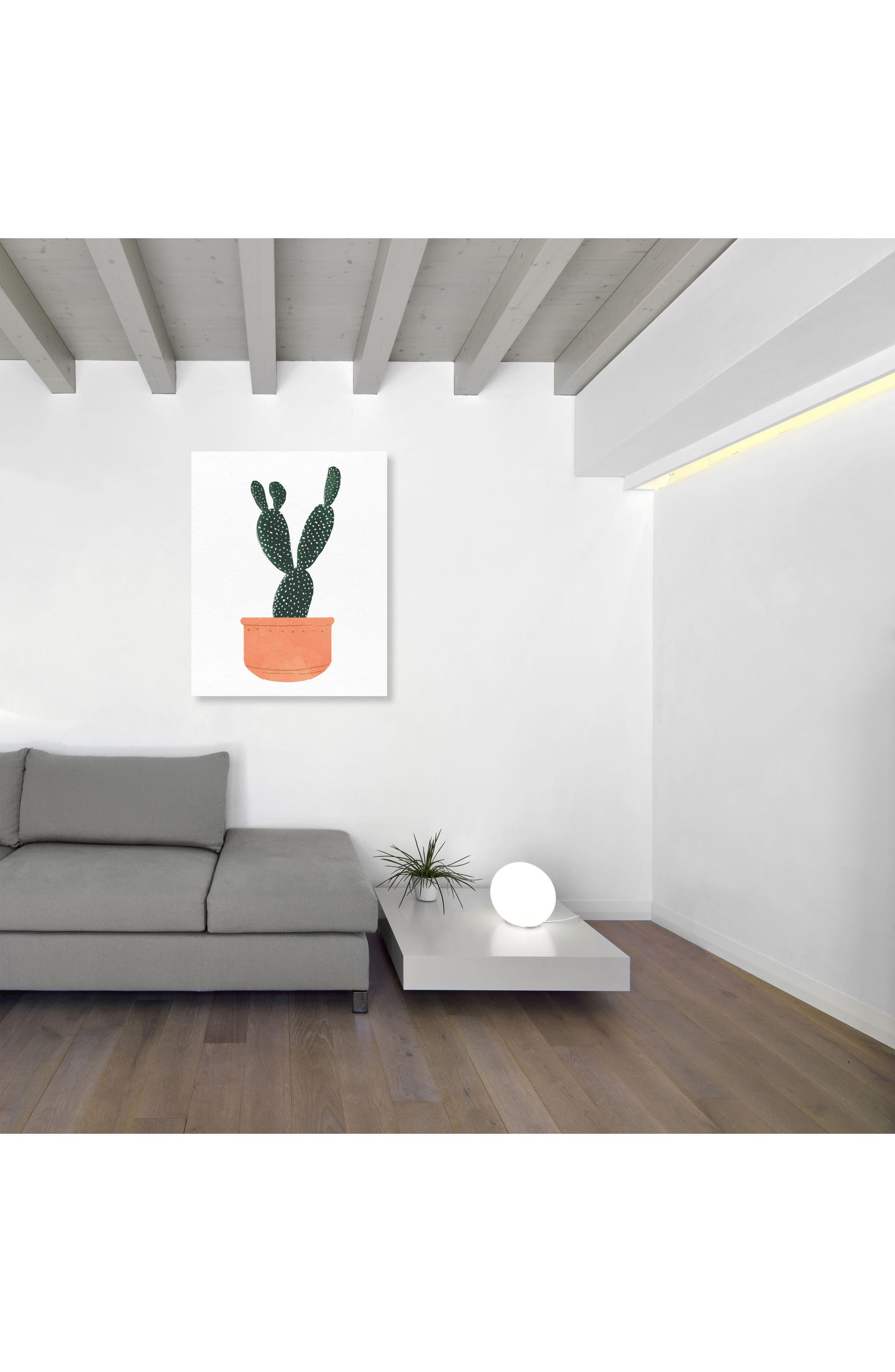 Cactus Coral Canvas Wall Art,                             Alternate thumbnail 2, color,                             GREEN