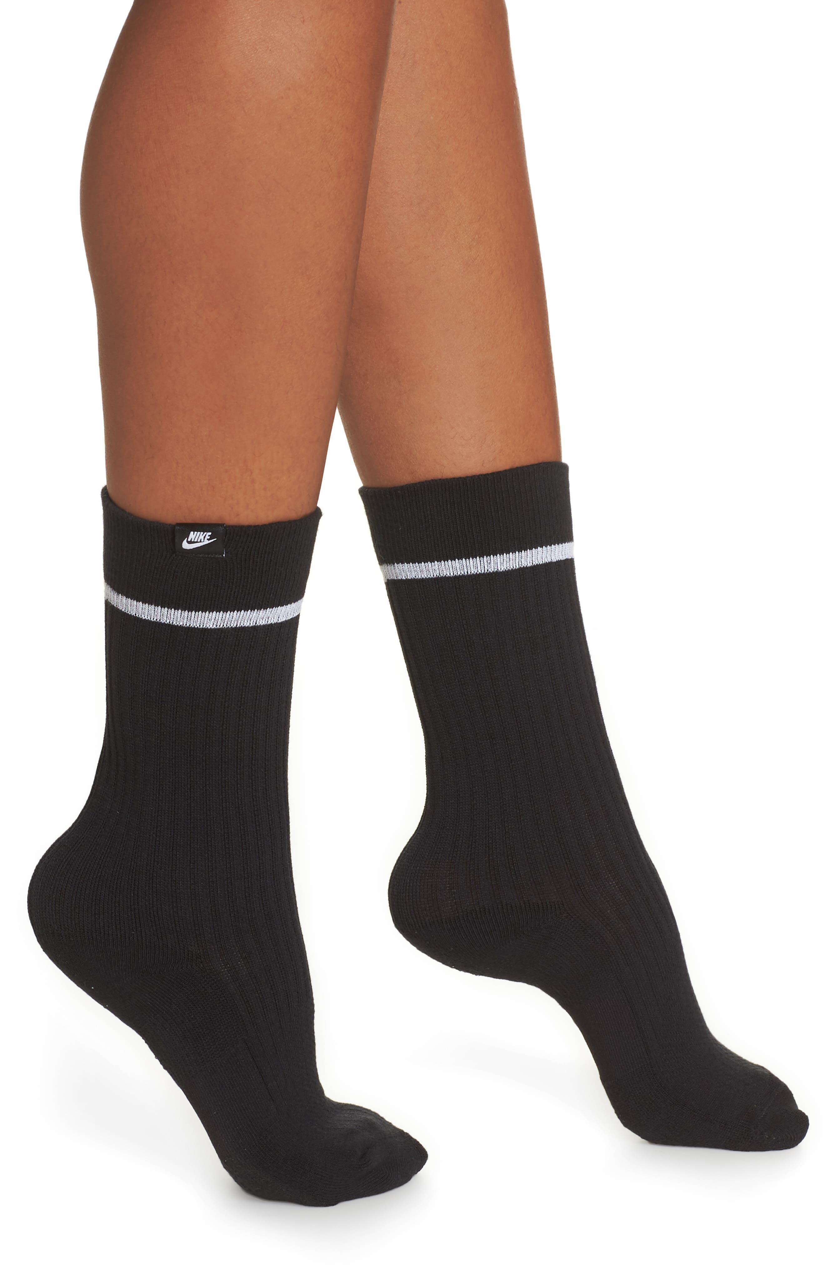 NikeLab 2-Pack Essential Crew Socks,                             Alternate thumbnail 2, color,                             BLACK/ WHITE