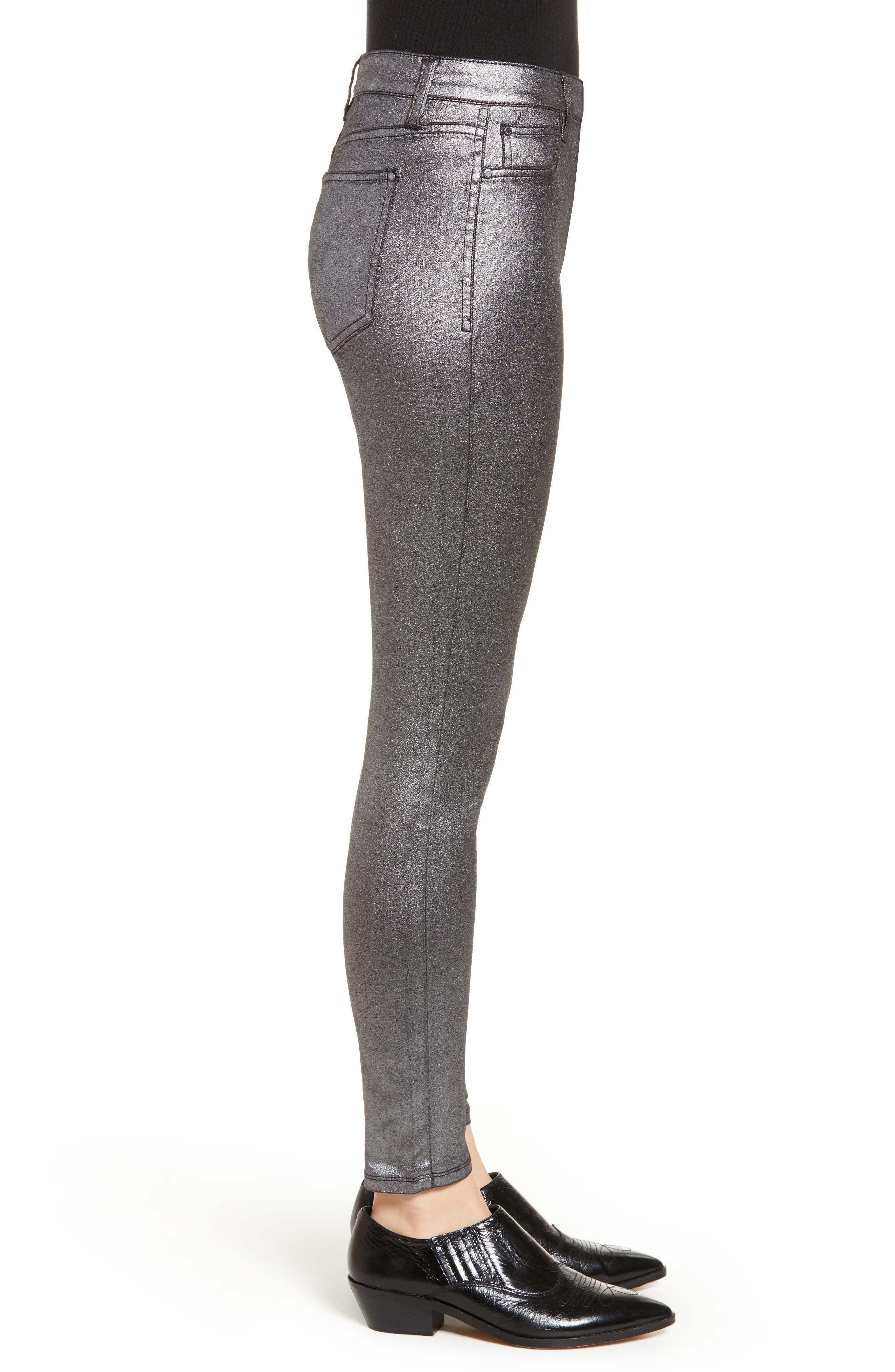 Metallic Coated Skinny Jeans,                             Alternate thumbnail 3, color,                             001