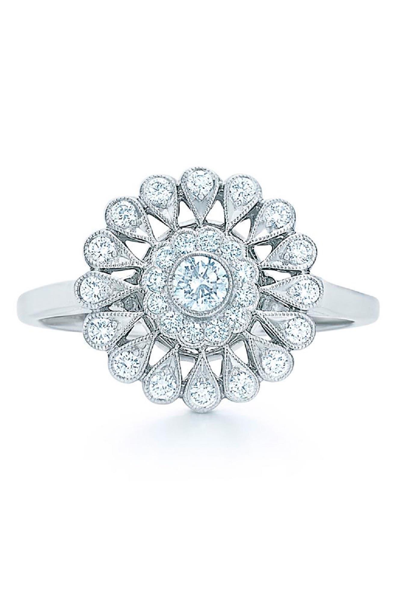 KWIAT,                             Vintage Flower Diamond Ring,                             Main thumbnail 1, color,                             711