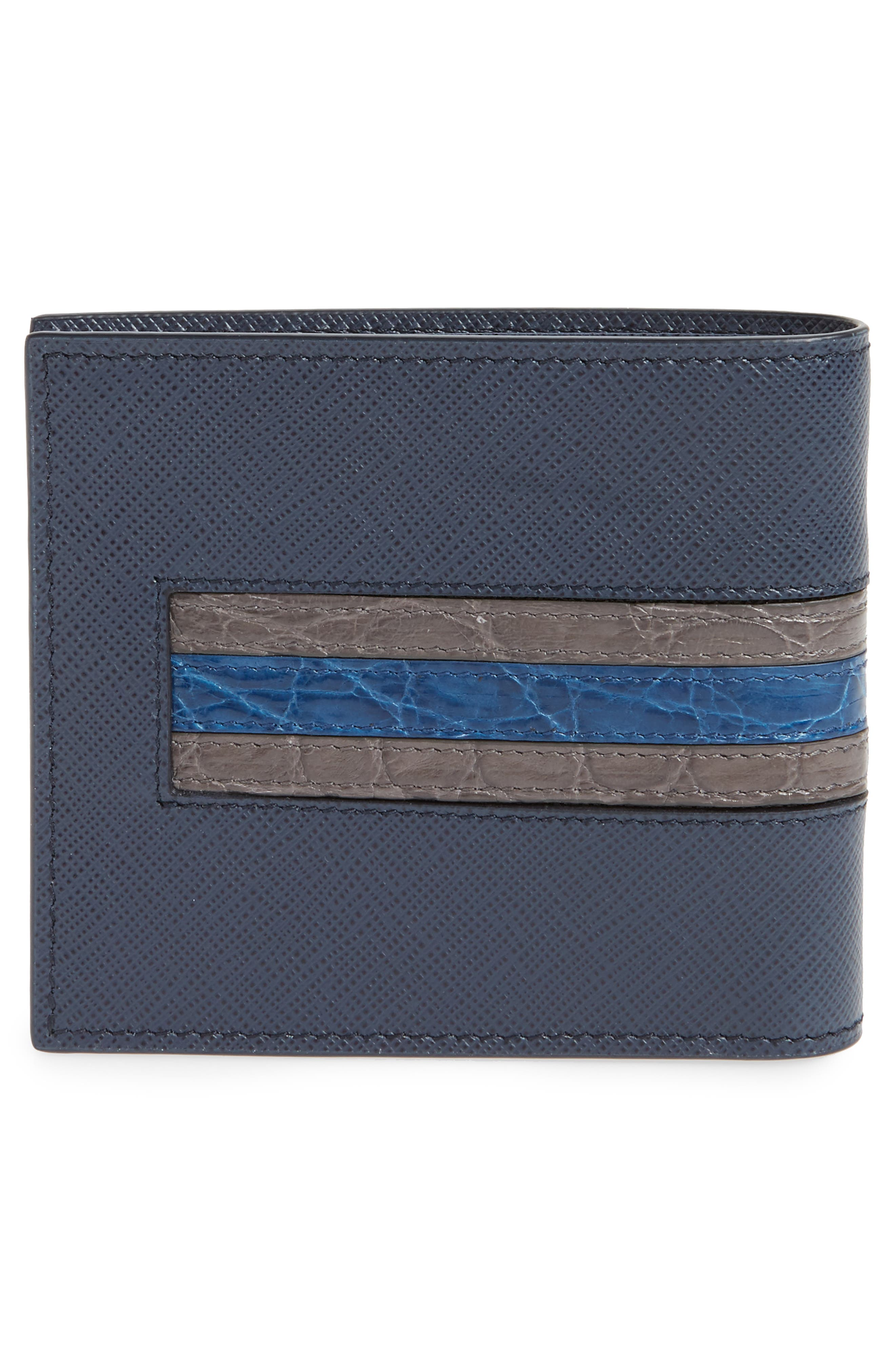 Saffiano and Crocodile Leather Wallet,                             Alternate thumbnail 6, color,
