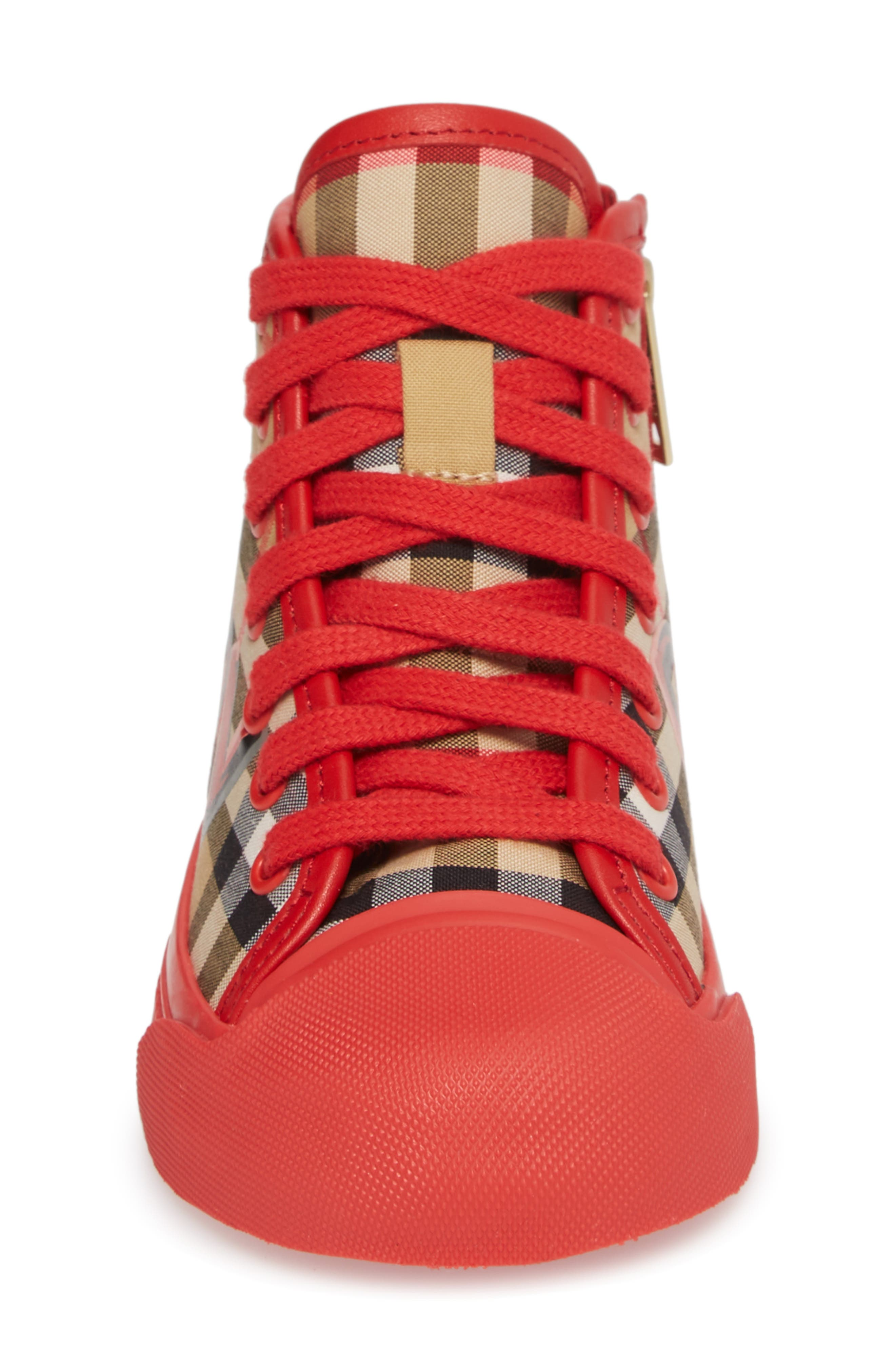 Mini Kingly High Top Sneaker,                             Alternate thumbnail 4, color,                             BRIGHT RED