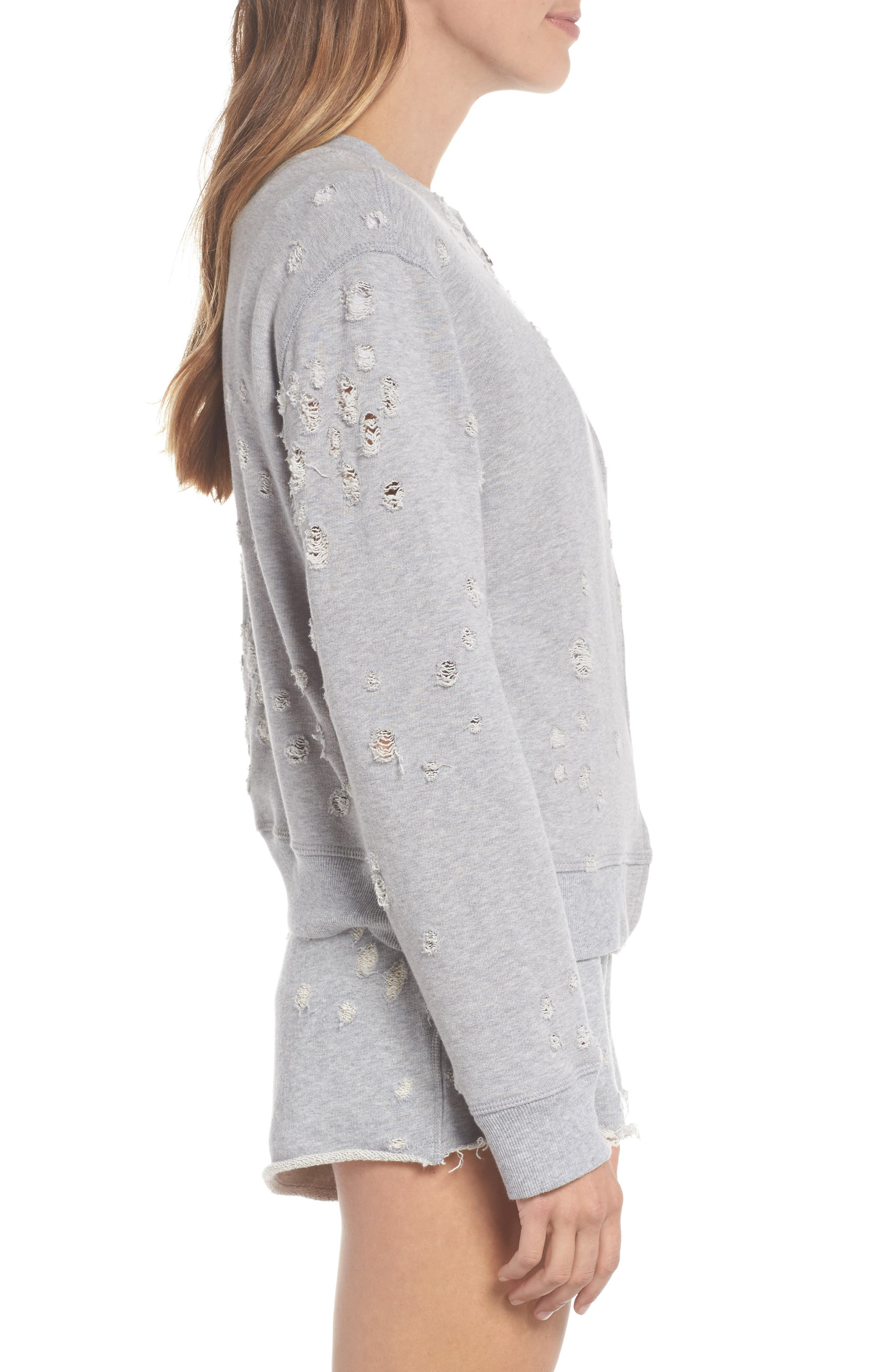 Distressed Zip Sweatshirt,                             Alternate thumbnail 3, color,                             HEATHER GREY