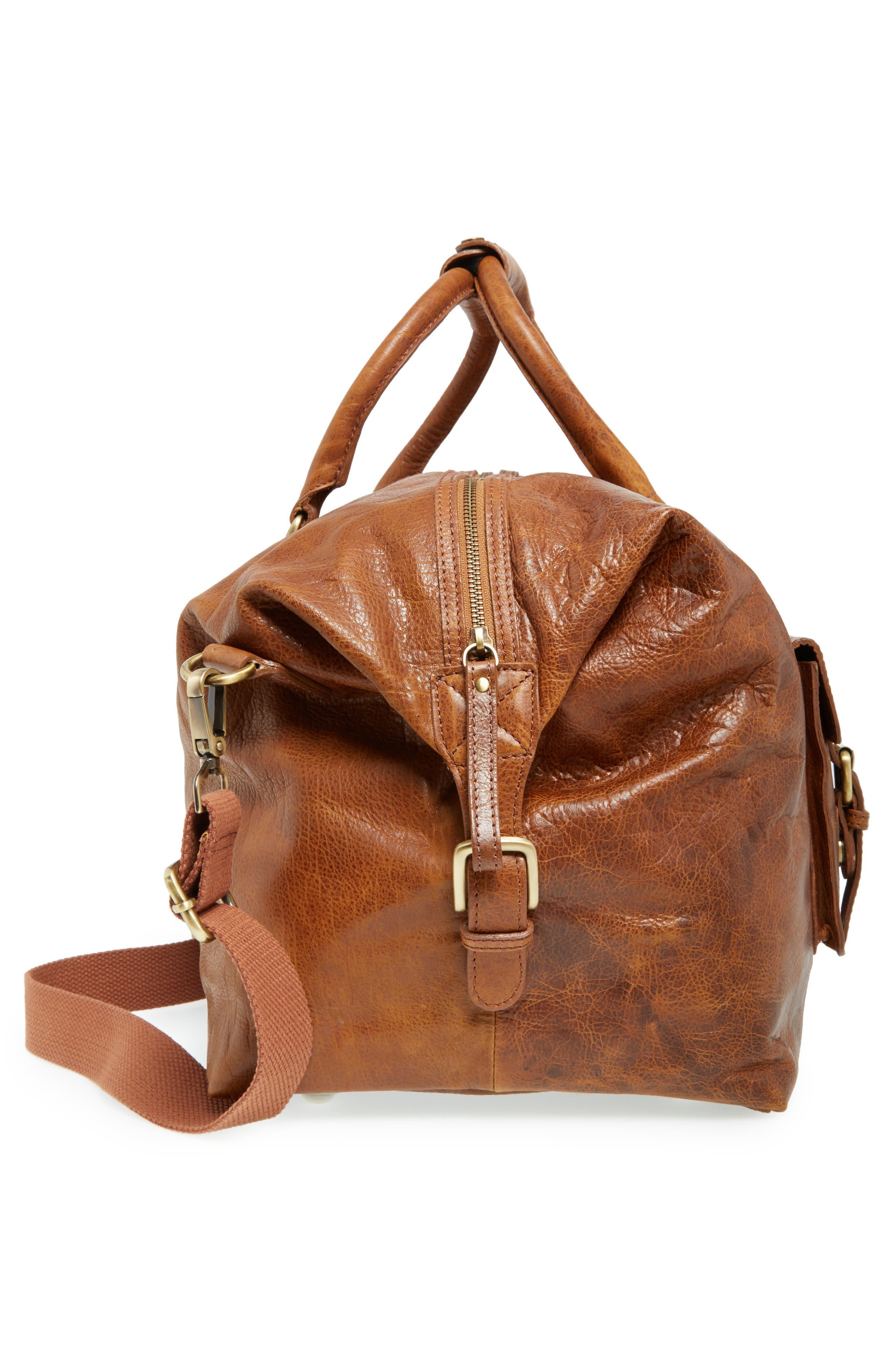'Rugged' Leather Duffel Bag,                             Alternate thumbnail 5, color,                             COGNAC