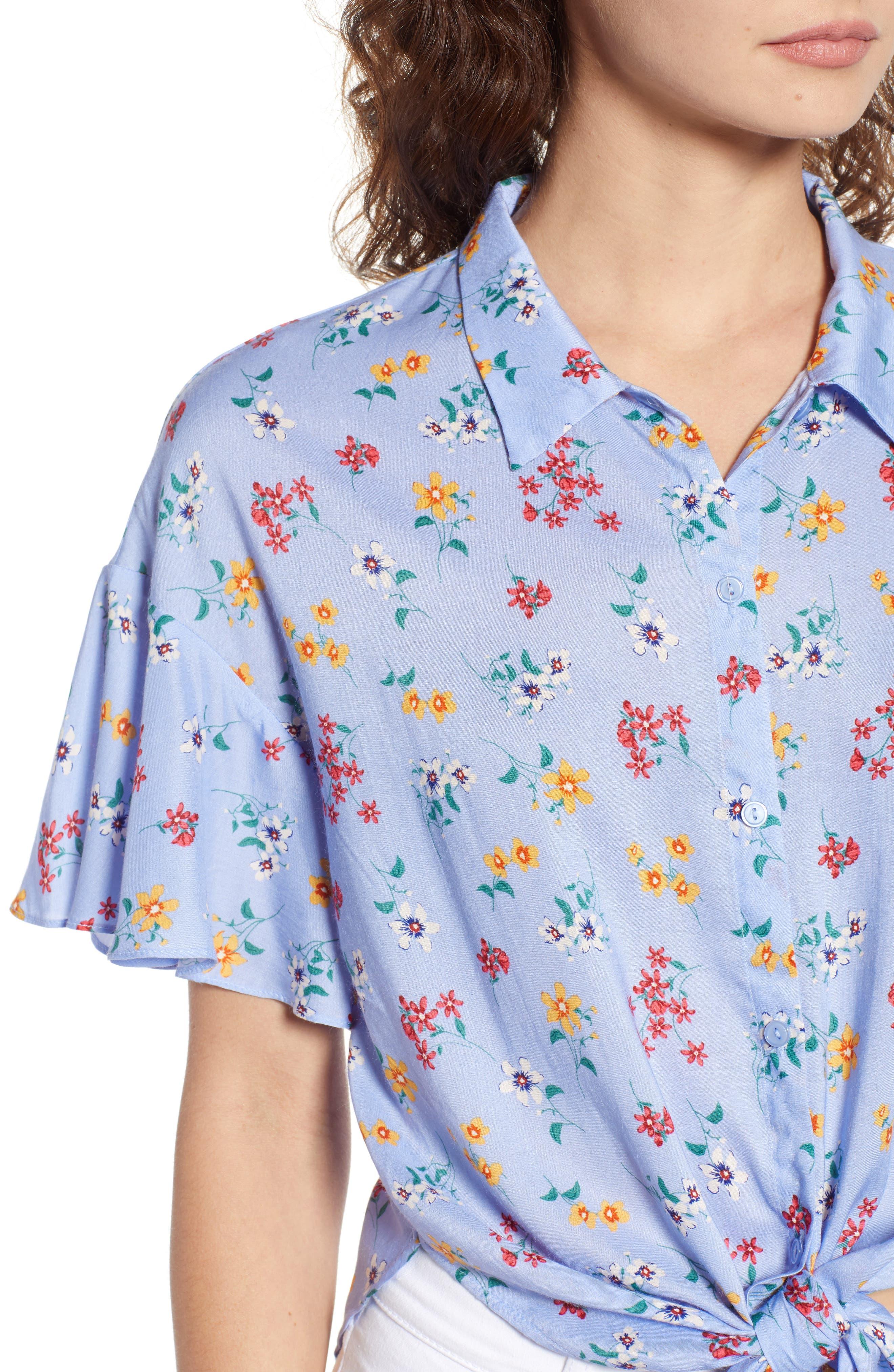 Floral Tie Hem Flutter Sleeve Top,                             Alternate thumbnail 4, color,                             400