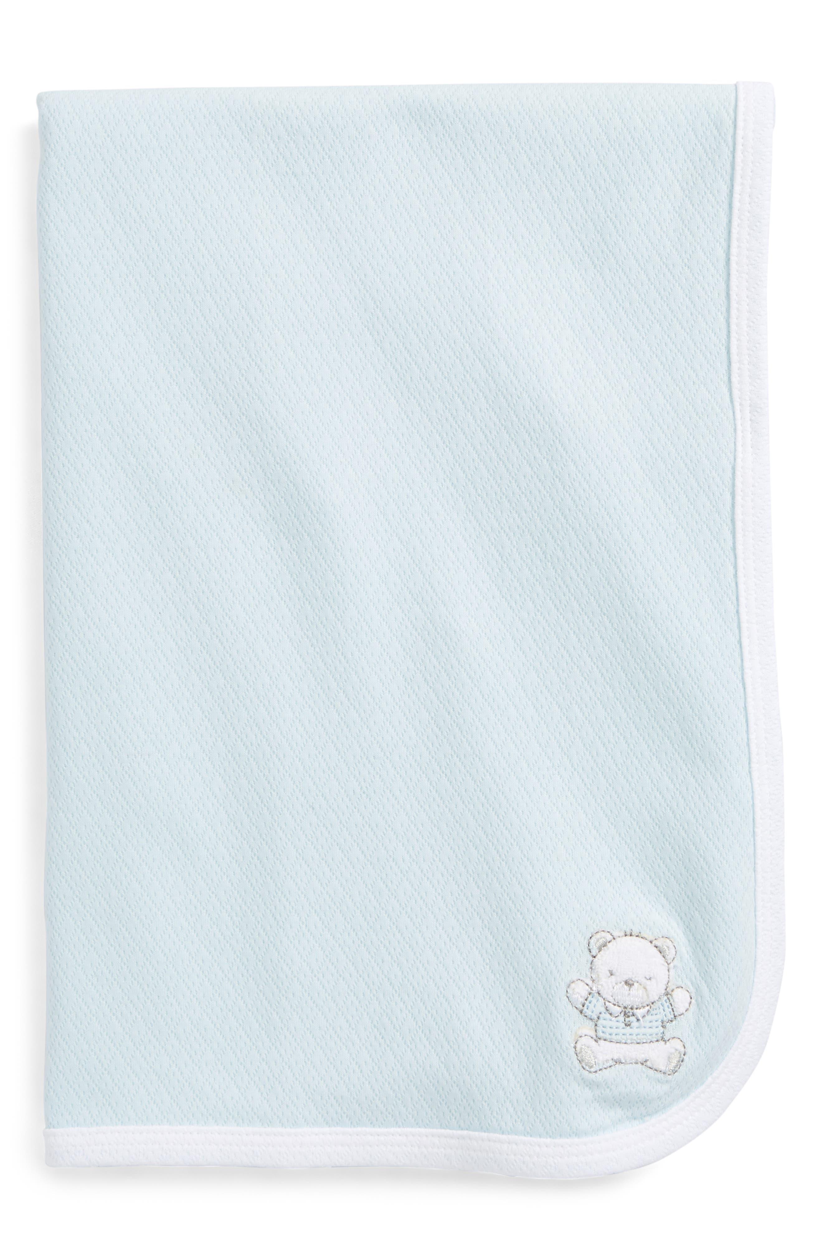Bear Receiving Blanket,                             Main thumbnail 1, color,                             LIGHT BLUE